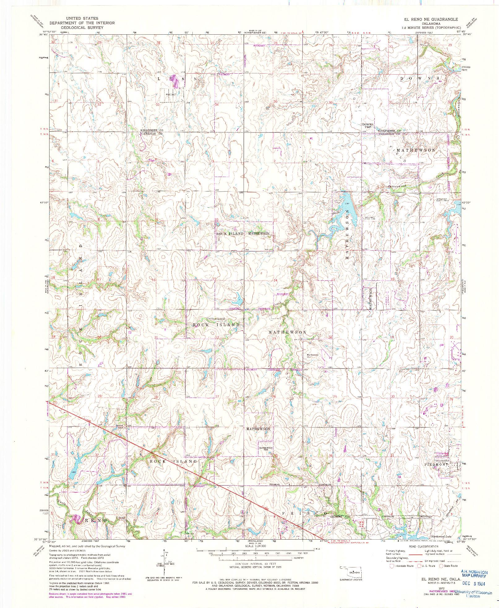 USGS 1:24000-SCALE QUADRANGLE FOR EL RENO NE, OK 1972