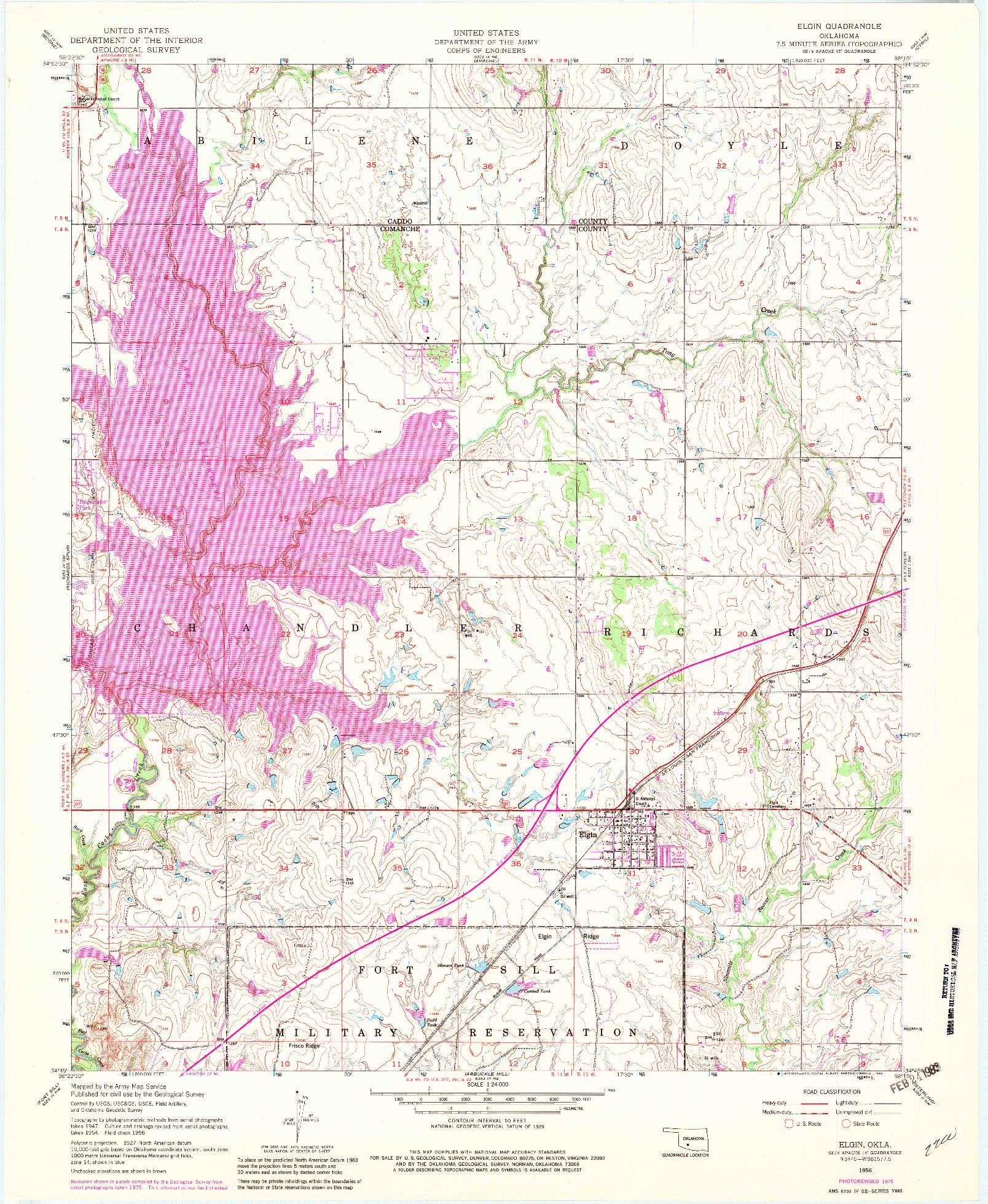 USGS 1:24000-SCALE QUADRANGLE FOR ELGIN, OK 1956