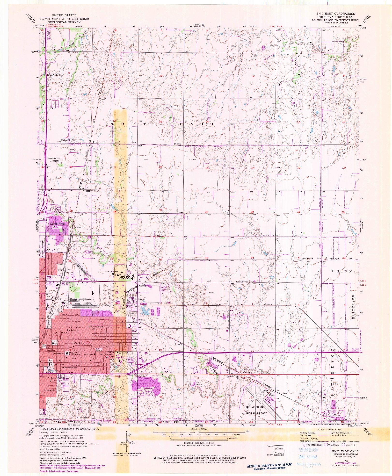 USGS 1:24000-SCALE QUADRANGLE FOR ENID EAST, OK 1955