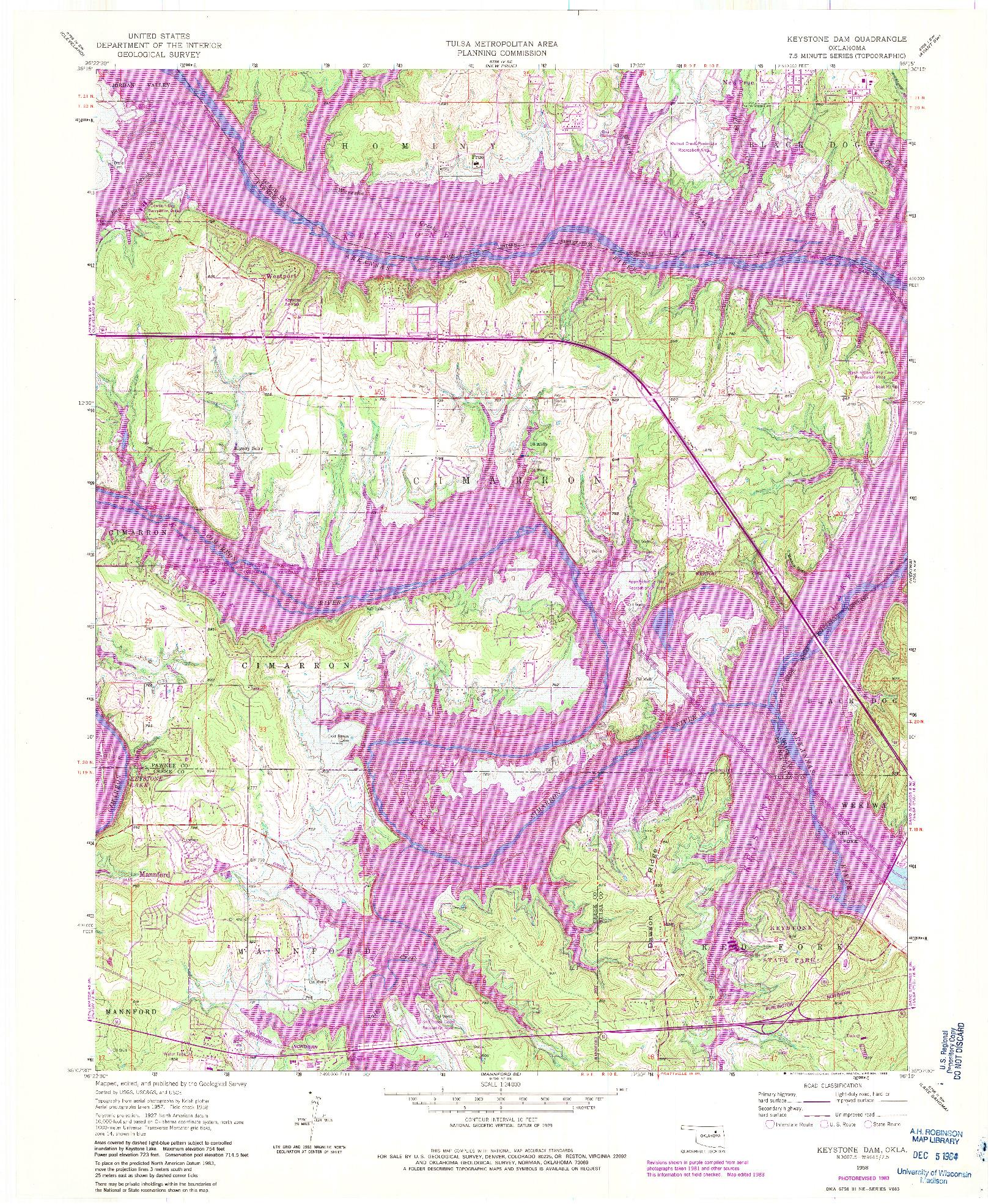 USGS 1:24000-SCALE QUADRANGLE FOR KEYSTONE DAM, OK 1958