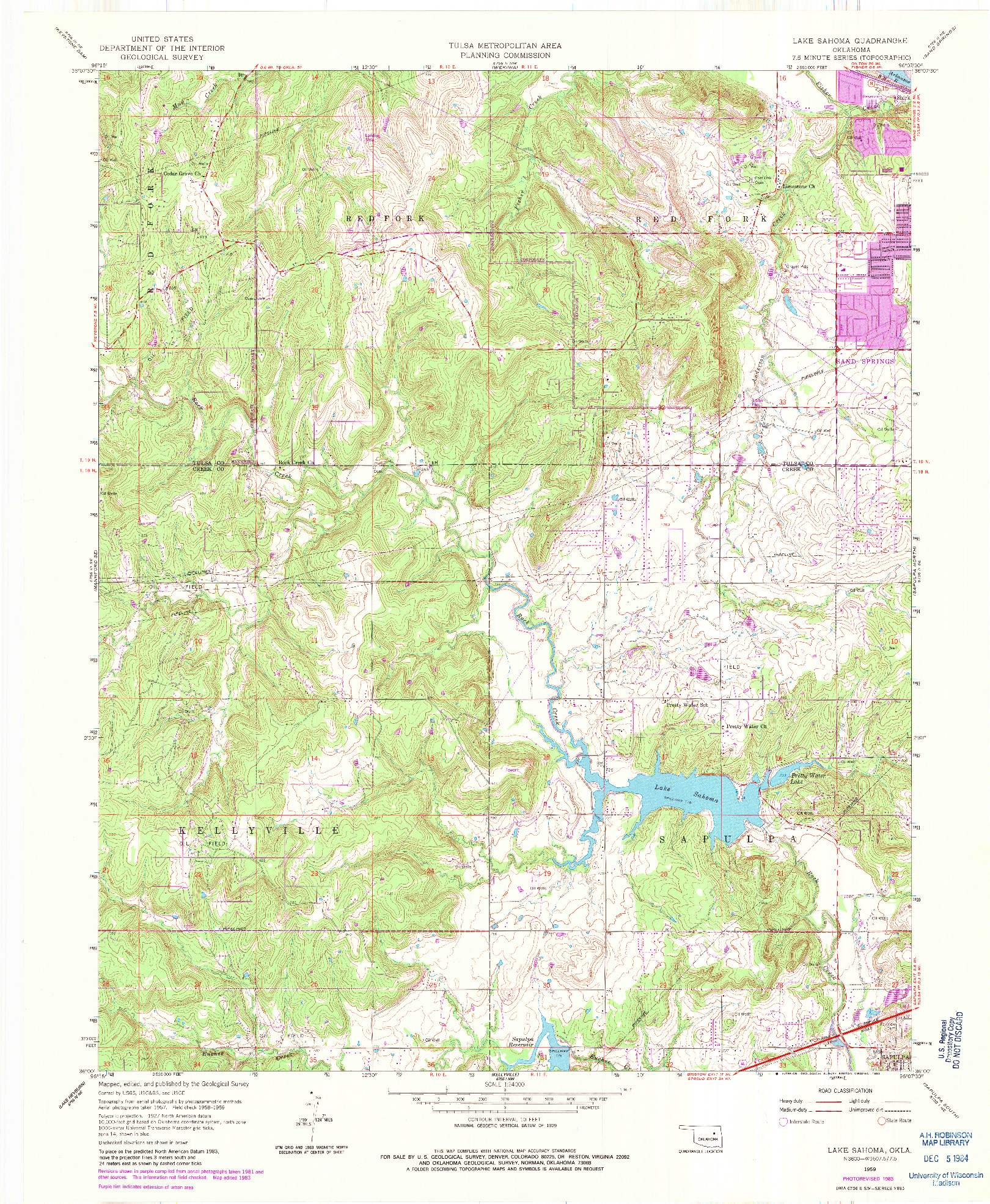USGS 1:24000-SCALE QUADRANGLE FOR LAKE SAHOMA, OK 1959