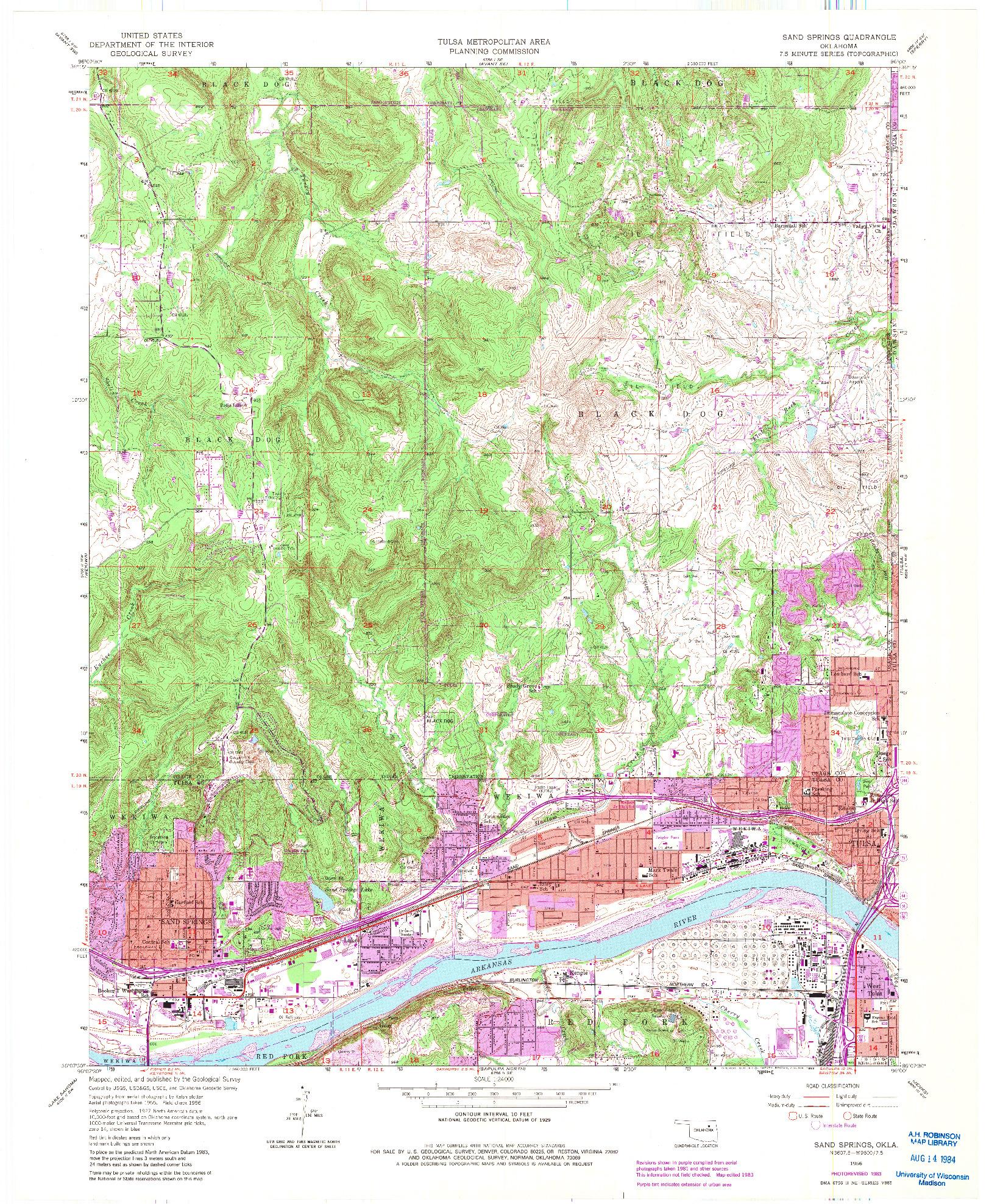USGS 1:24000-SCALE QUADRANGLE FOR SAND SPRINGS, OK 1956