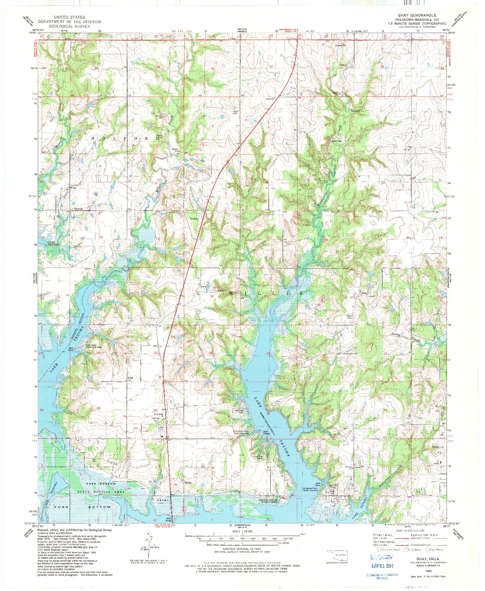 USGS 1:24000-SCALE QUADRANGLE FOR SHAY, OK 1982