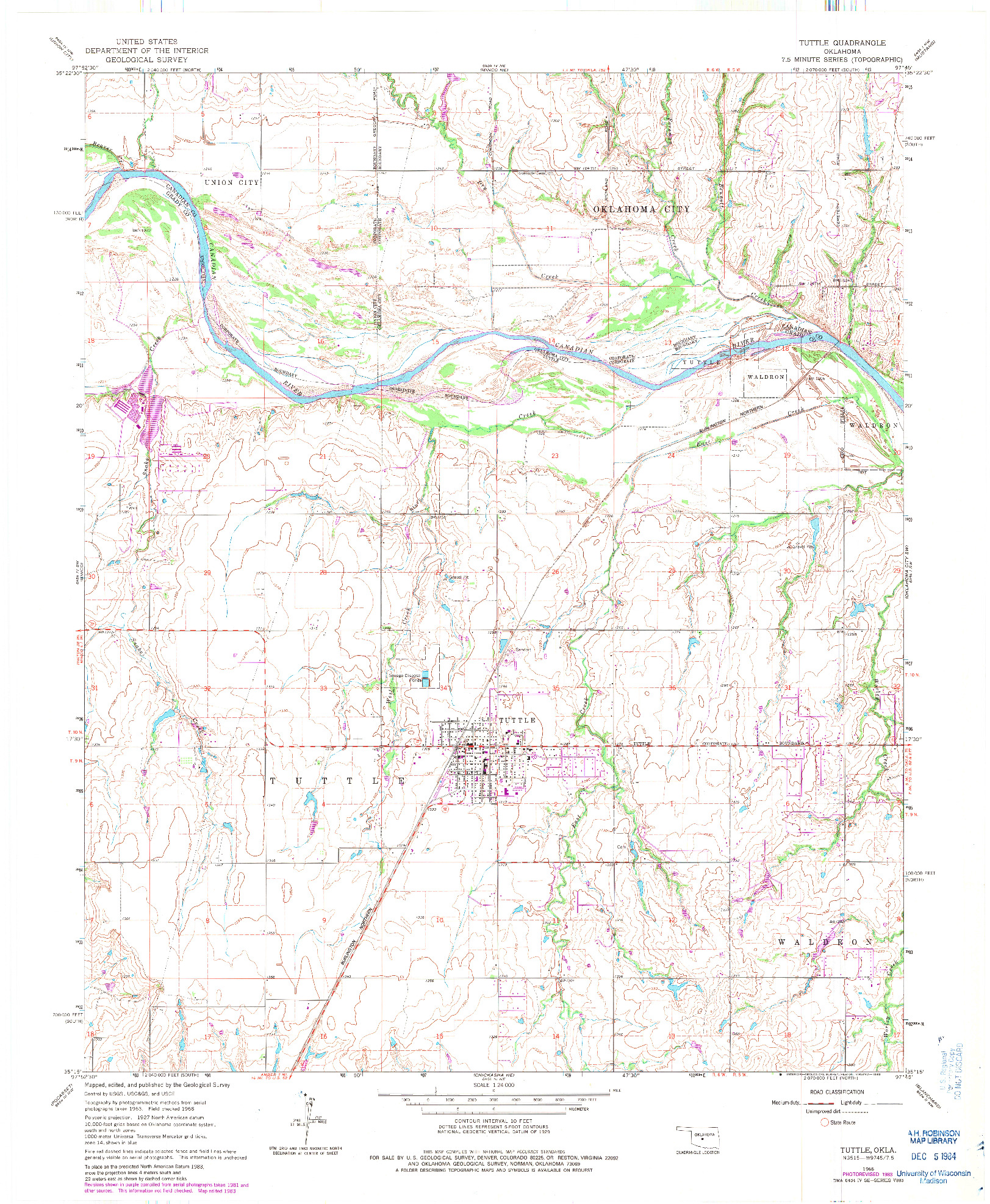 USGS 1:24000-SCALE QUADRANGLE FOR TUTTLE, OK 1966