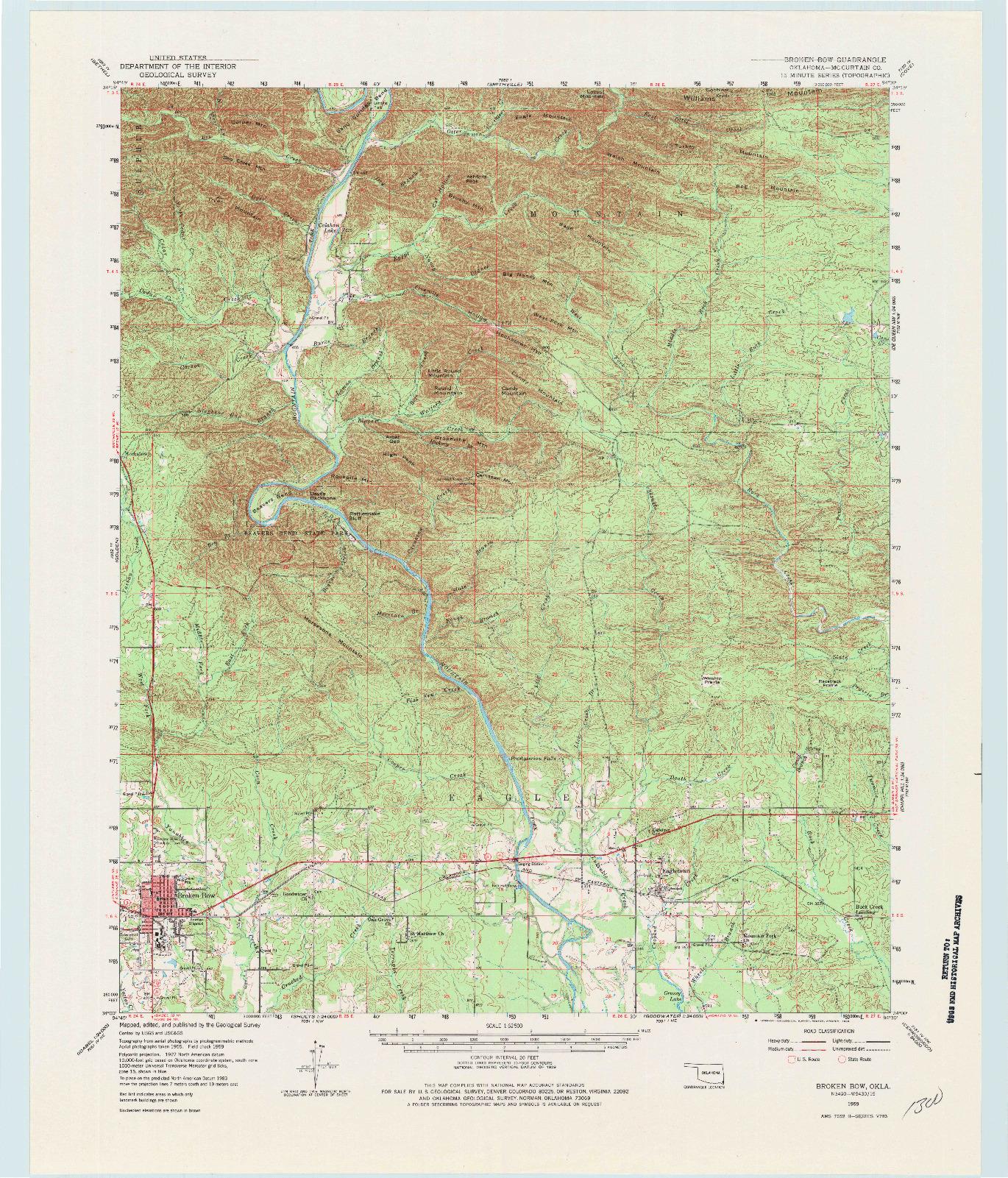USGS 1:62500-SCALE QUADRANGLE FOR BROKEN BOW, OK 1959