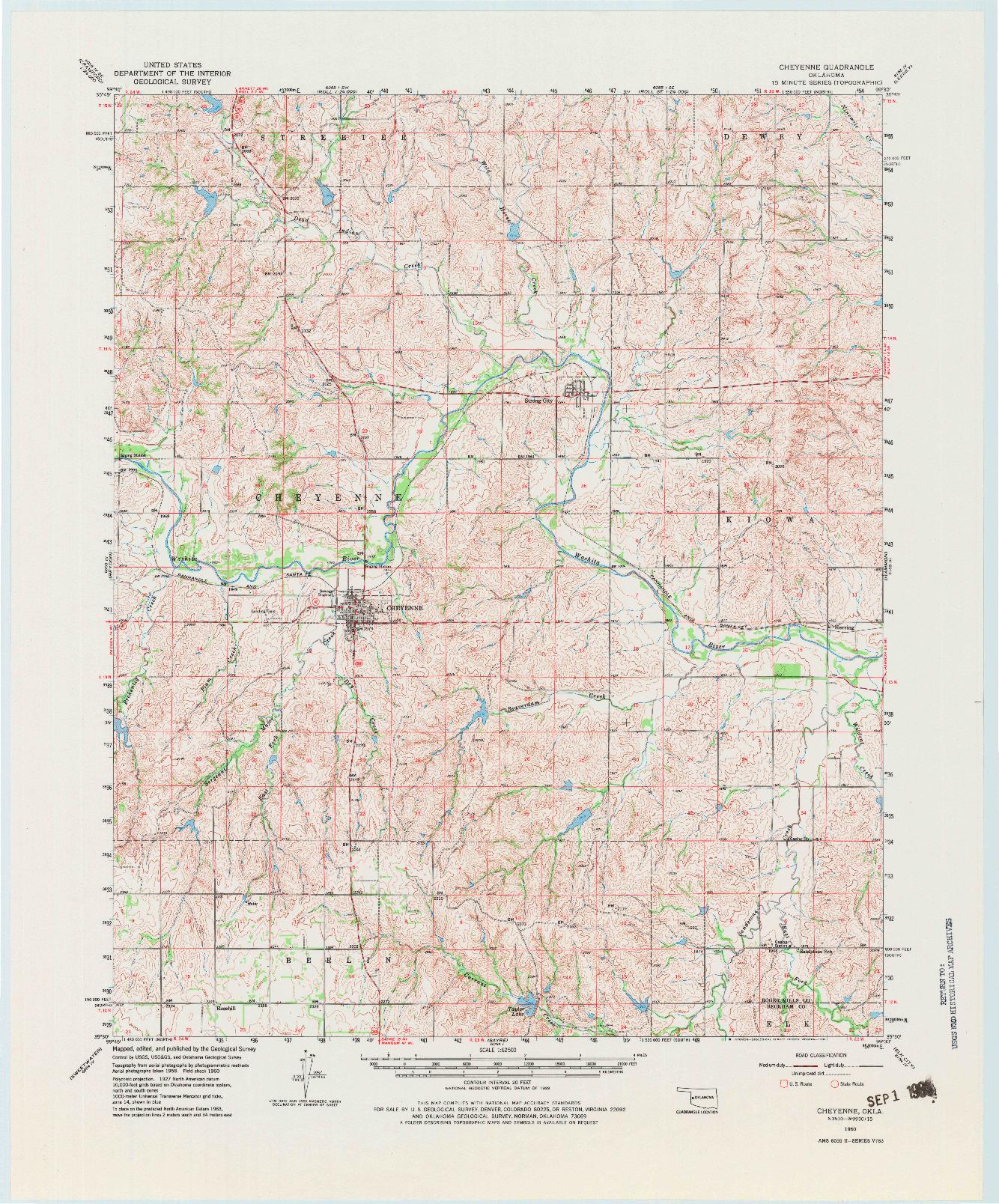 USGS 1:62500-SCALE QUADRANGLE FOR CHEYENNE, OK 1960