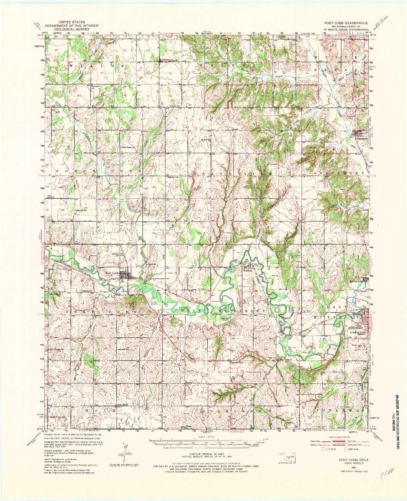 USGS 1:62500-SCALE QUADRANGLE FOR FORT COBB, OK 1951
