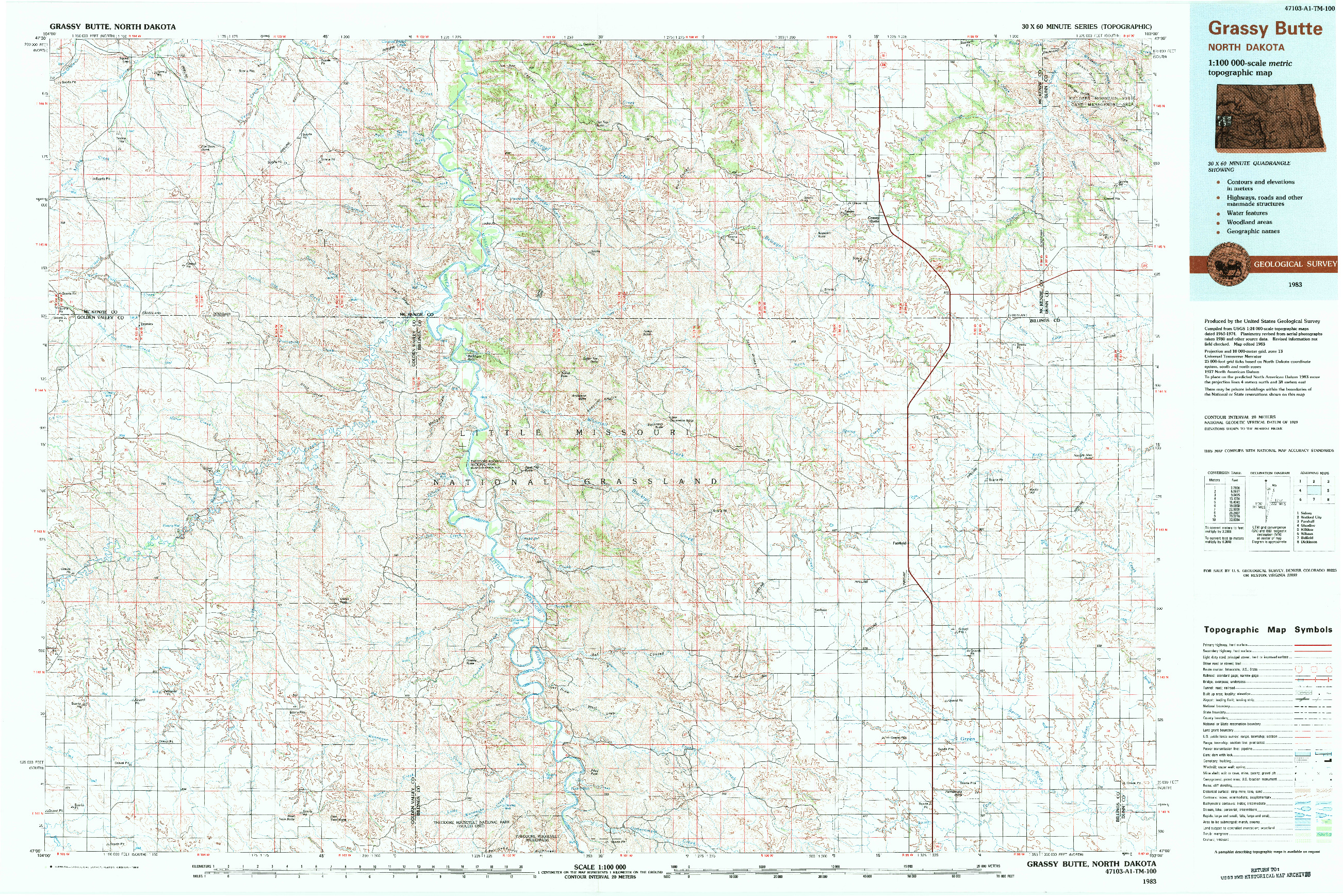 USGS 1:100000-SCALE QUADRANGLE FOR GRASSY BUTTE, ND 1983