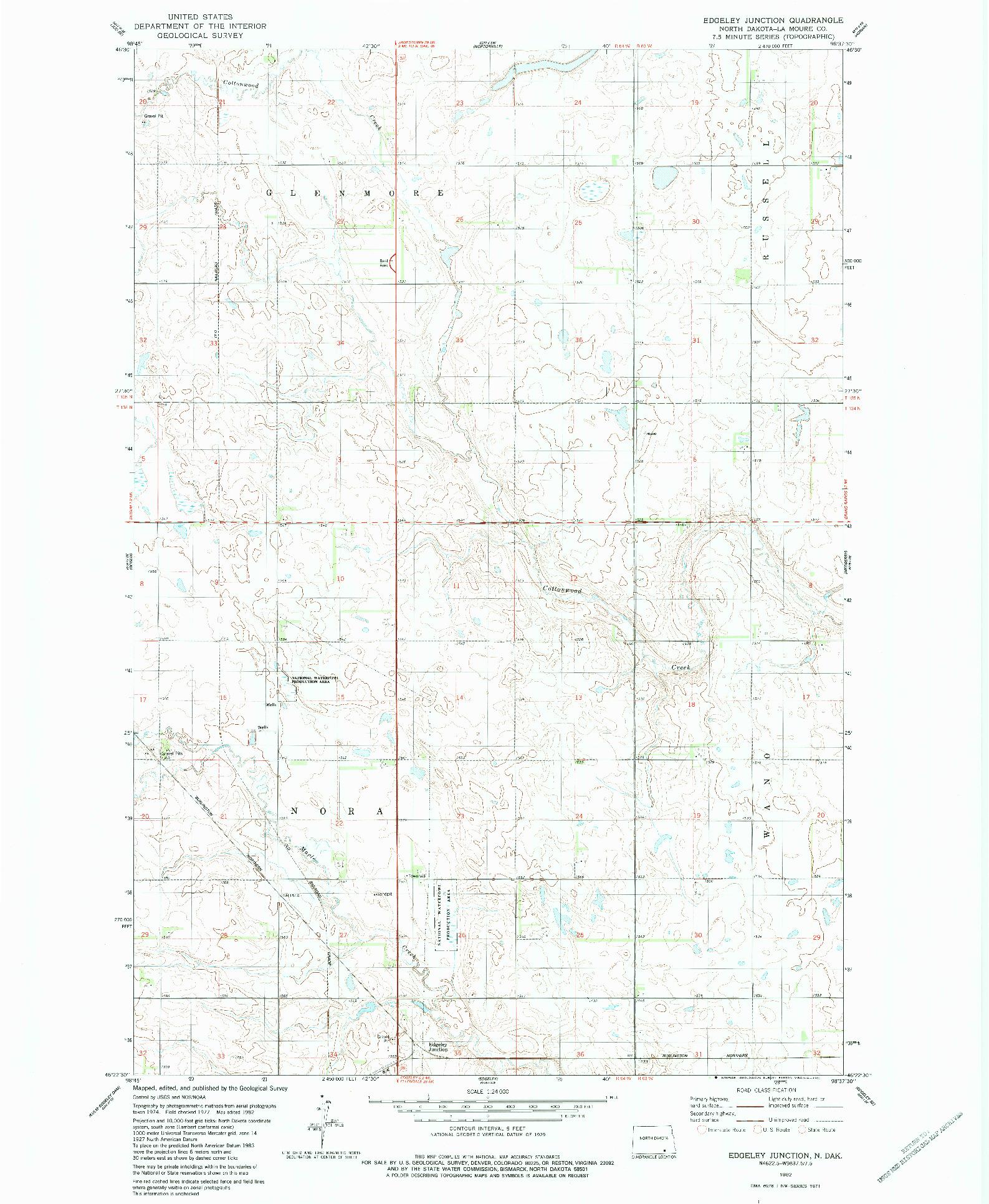 USGS 1:24000-SCALE QUADRANGLE FOR EDGELEY JUNCTION, ND 1982