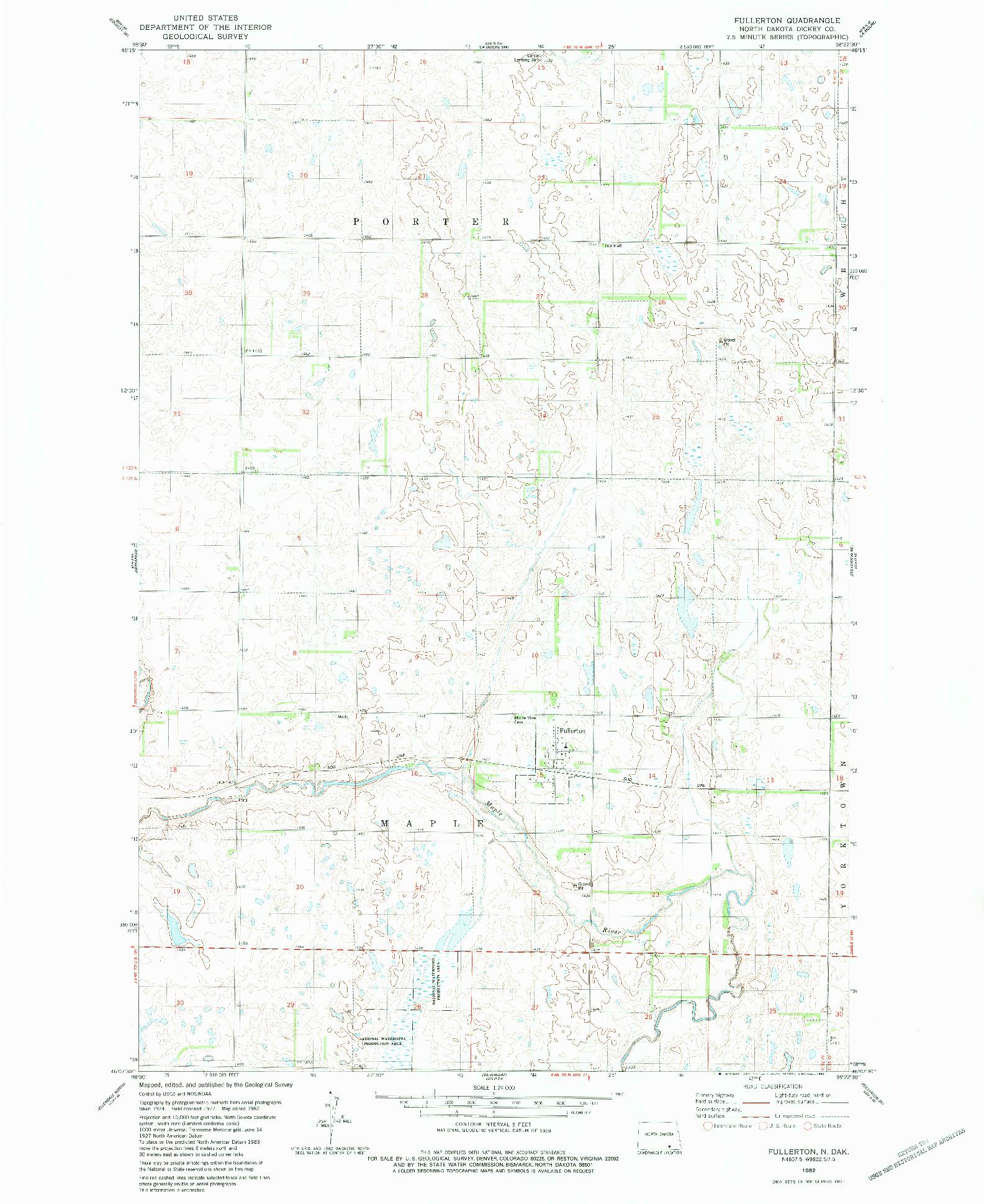 USGS 1:24000-SCALE QUADRANGLE FOR FULLERTON, ND 1982