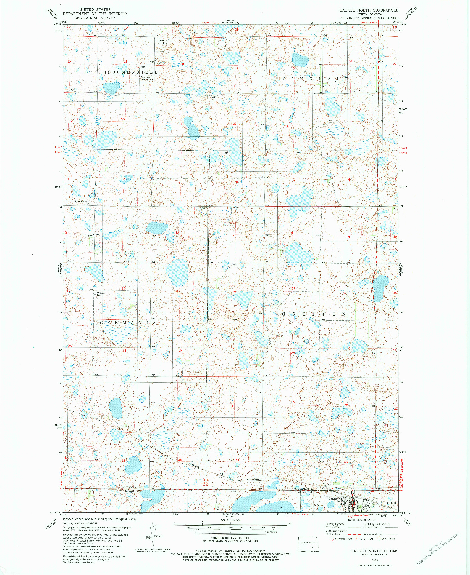 USGS 1:24000-SCALE QUADRANGLE FOR GACKLE NORTH, ND 1983