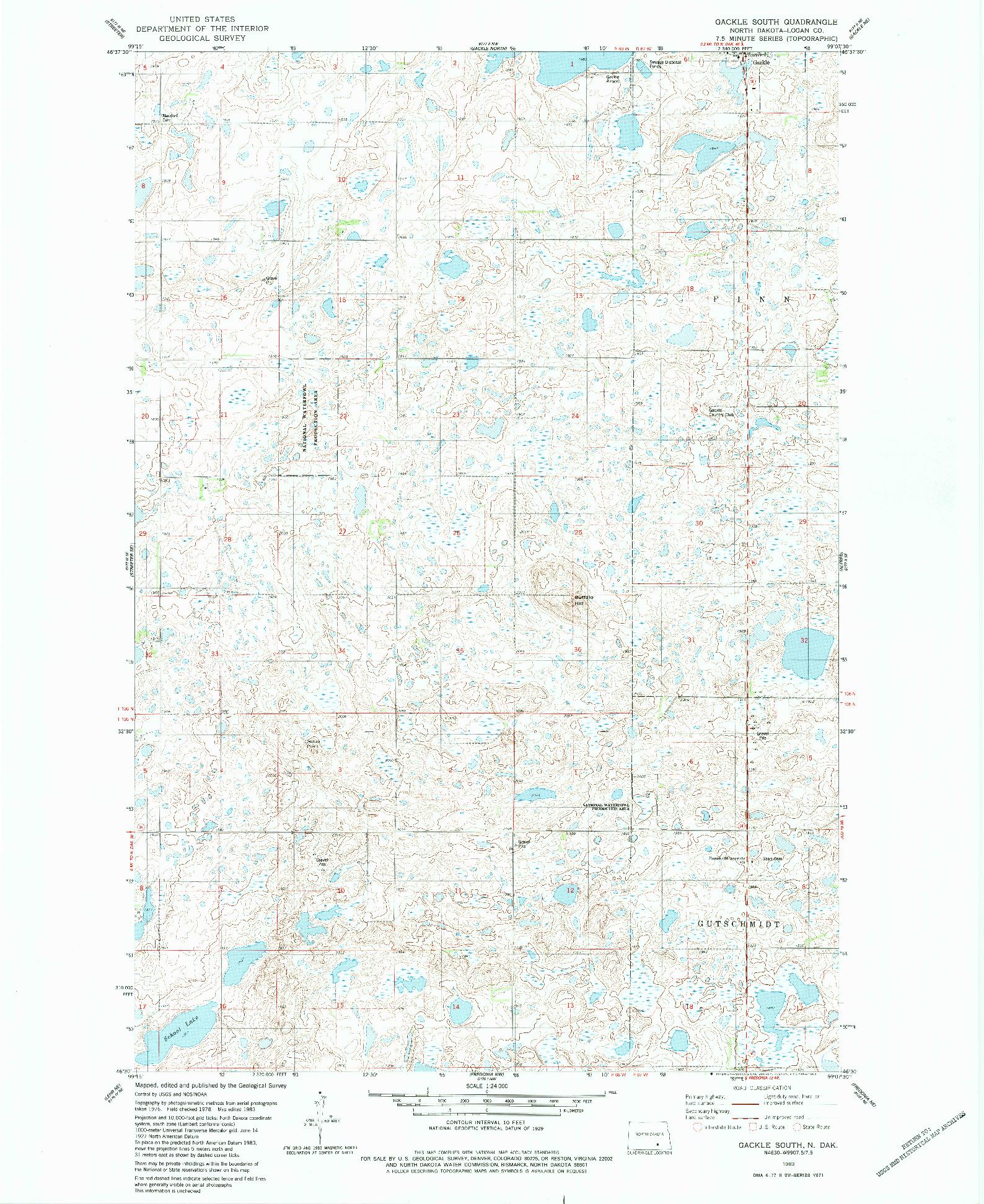USGS 1:24000-SCALE QUADRANGLE FOR GACKLE SOUTH, ND 1983