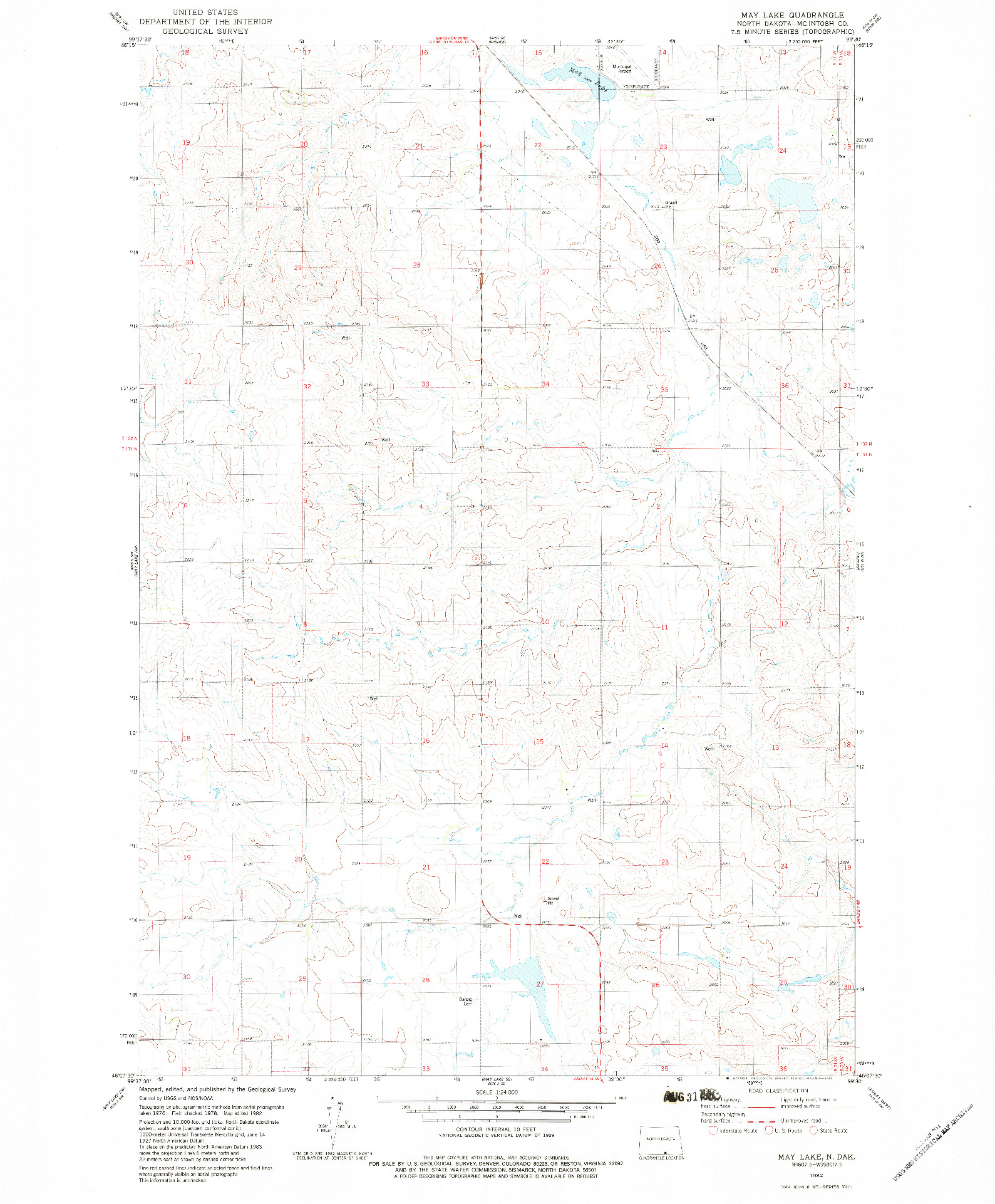 USGS 1:24000-SCALE QUADRANGLE FOR MAY LAKE, ND 1982