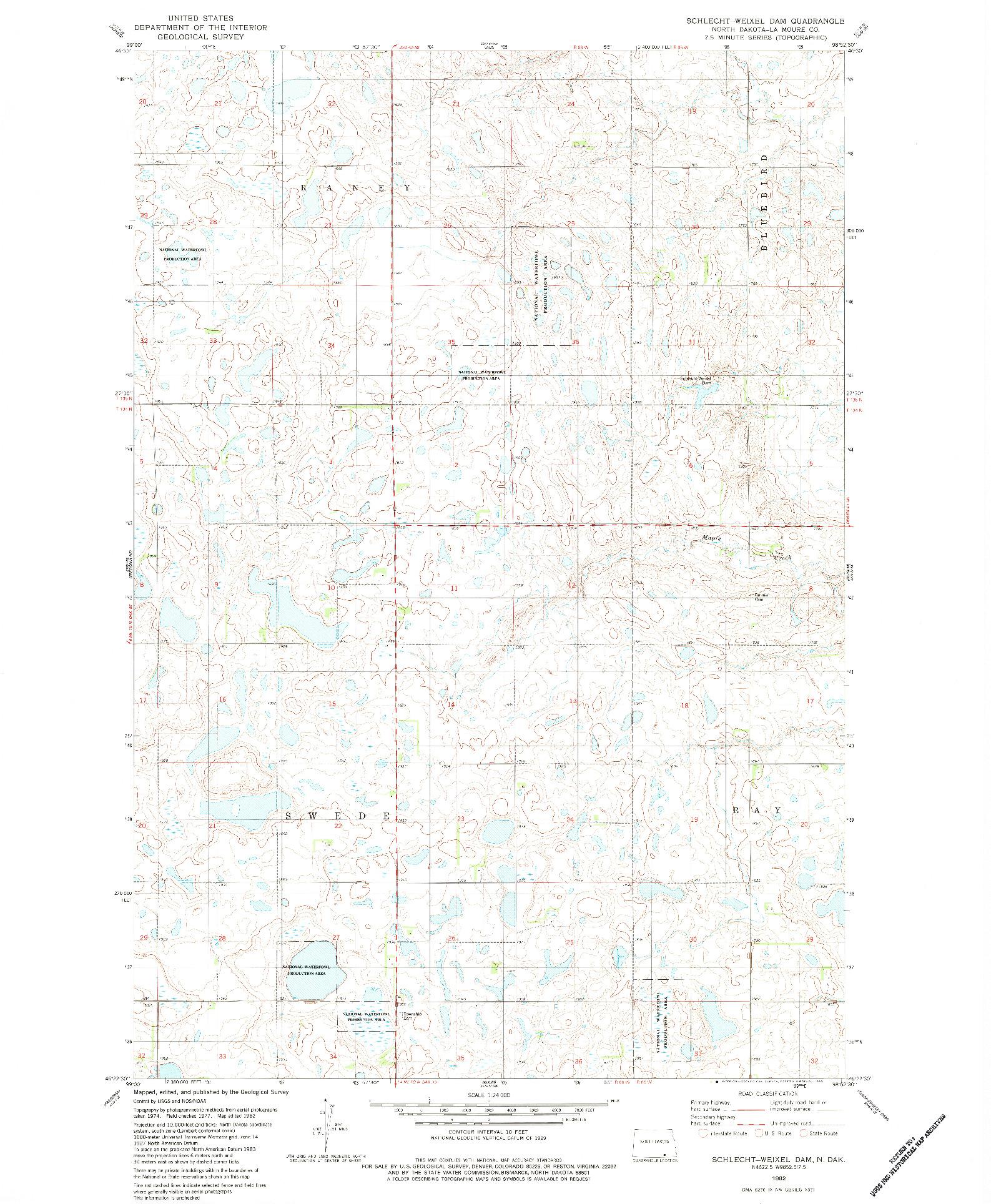 USGS 1:24000-SCALE QUADRANGLE FOR SCHLECHT-WEIXEL DAM, ND 1982