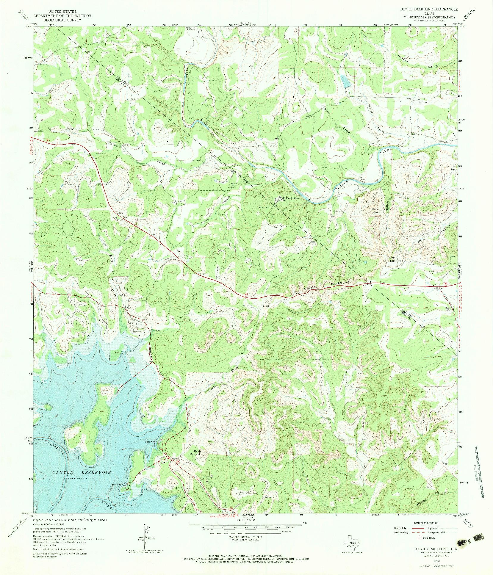USGS 1:24000-SCALE QUADRANGLE FOR DEVILS BACKBONE, TX 1963
