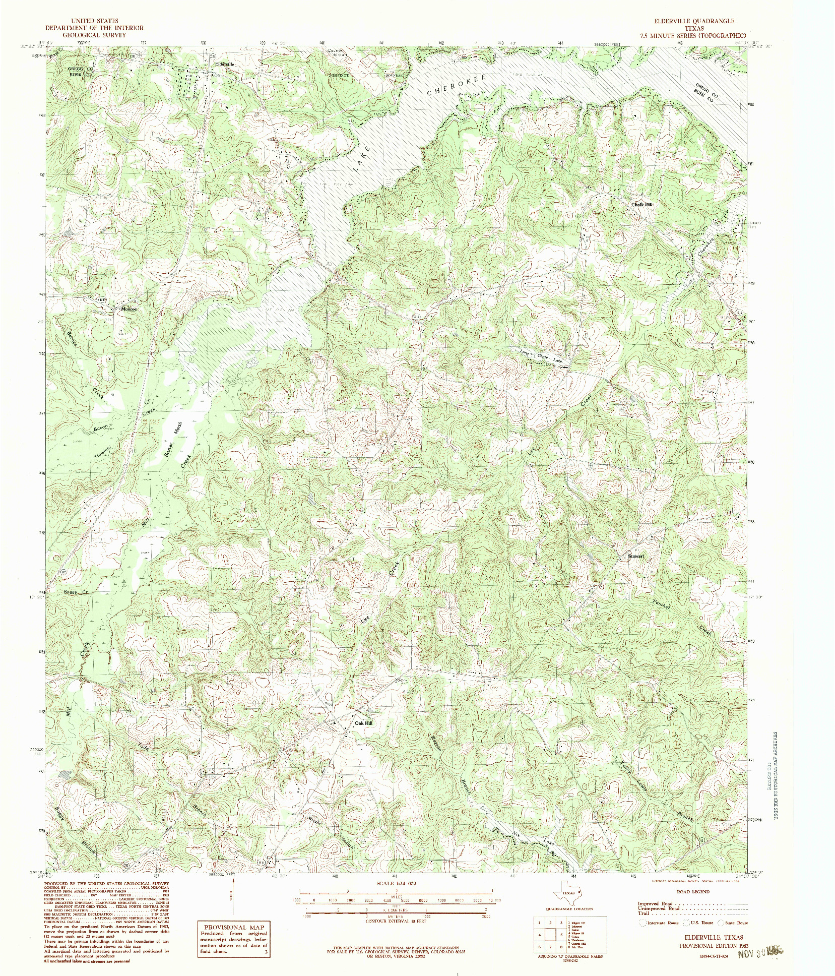 USGS 1:24000-SCALE QUADRANGLE FOR ELDERVILLE, TX 1983