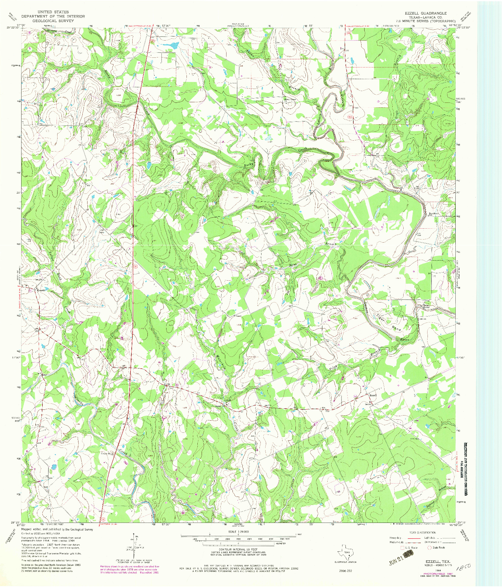 USGS 1:24000-SCALE QUADRANGLE FOR EZZELL, TX 1964