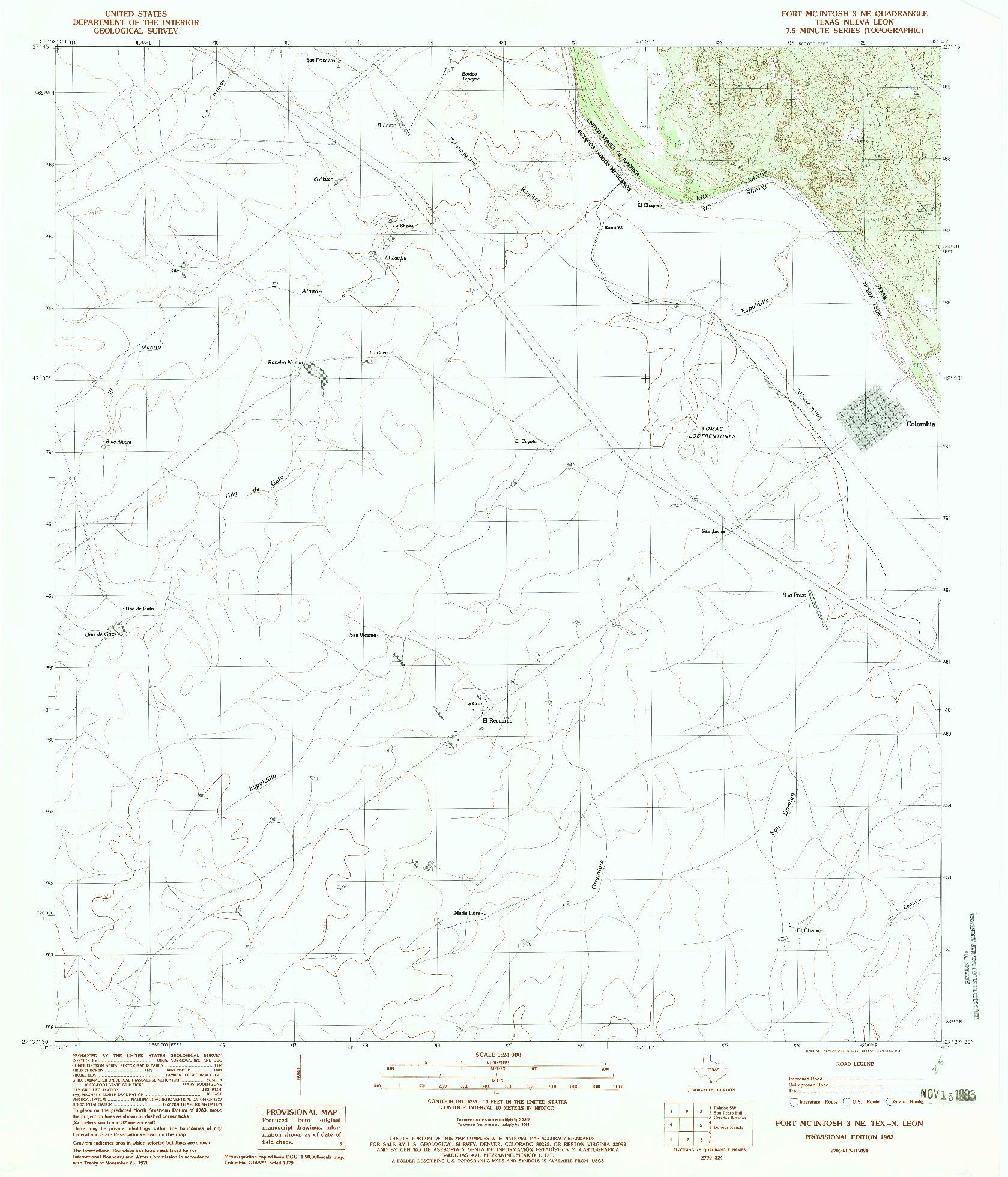 USGS 1:24000-SCALE QUADRANGLE FOR FORT MCINTOSH 3 NE, TX 1983