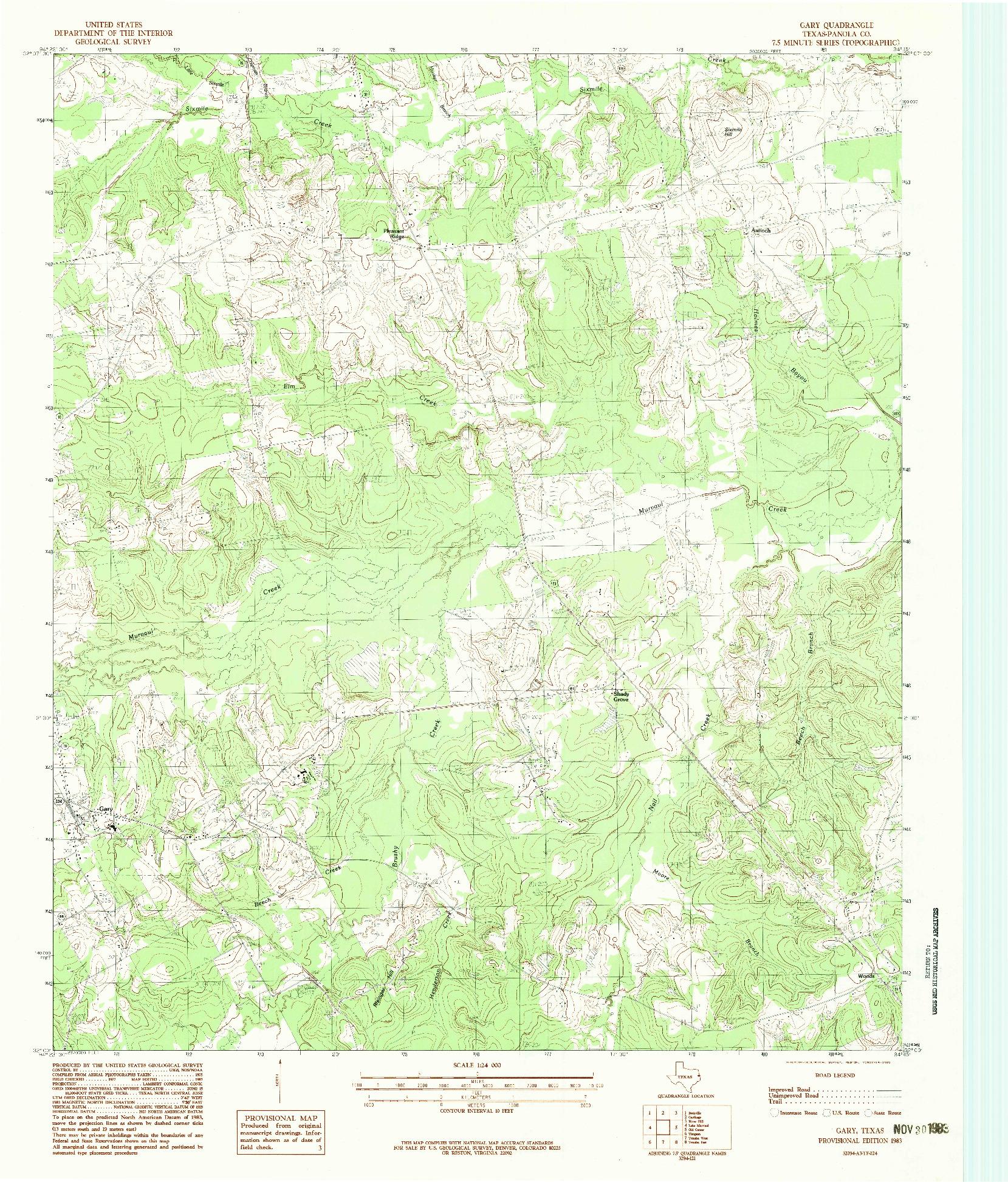USGS 1:24000-SCALE QUADRANGLE FOR GARY, TX 1983