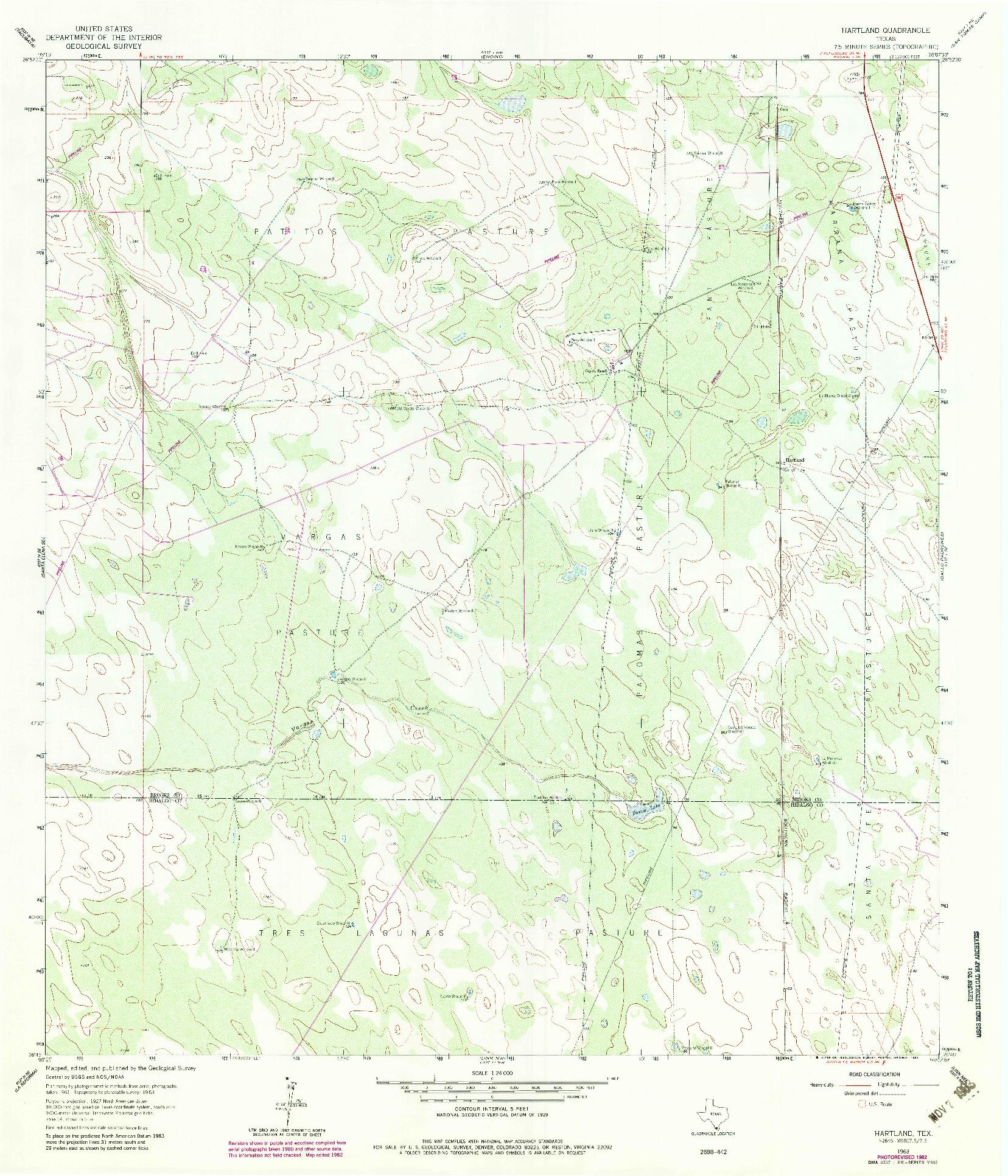 USGS 1:24000-SCALE QUADRANGLE FOR HARTLAND, TX 1963