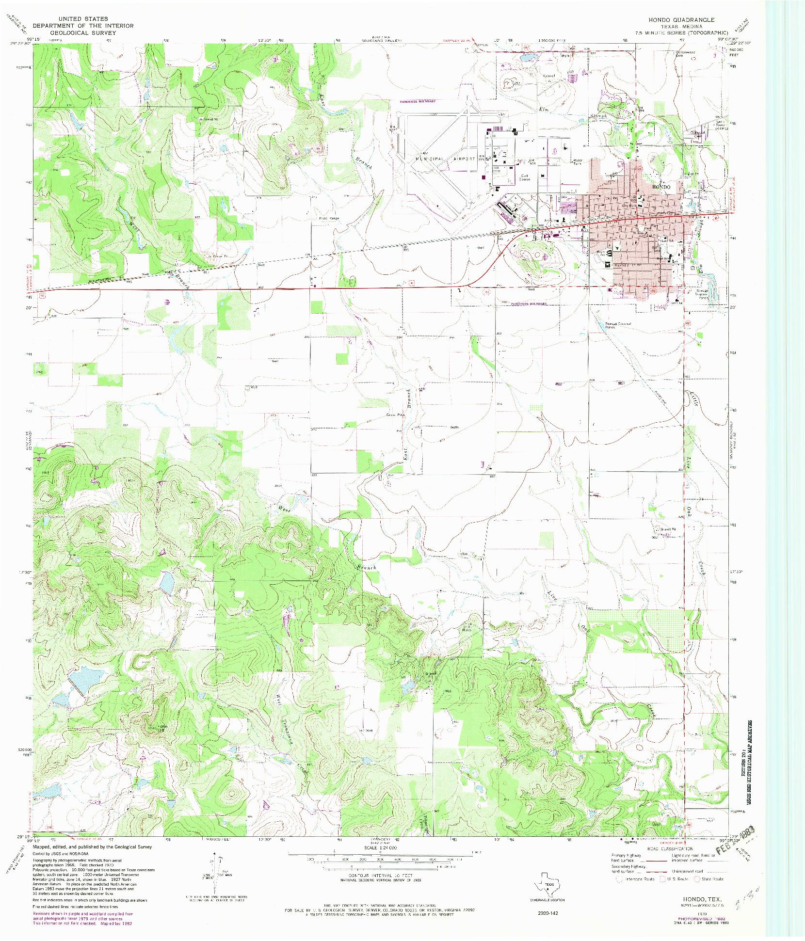 USGS 1:24000-SCALE QUADRANGLE FOR HONDO, TX 1970