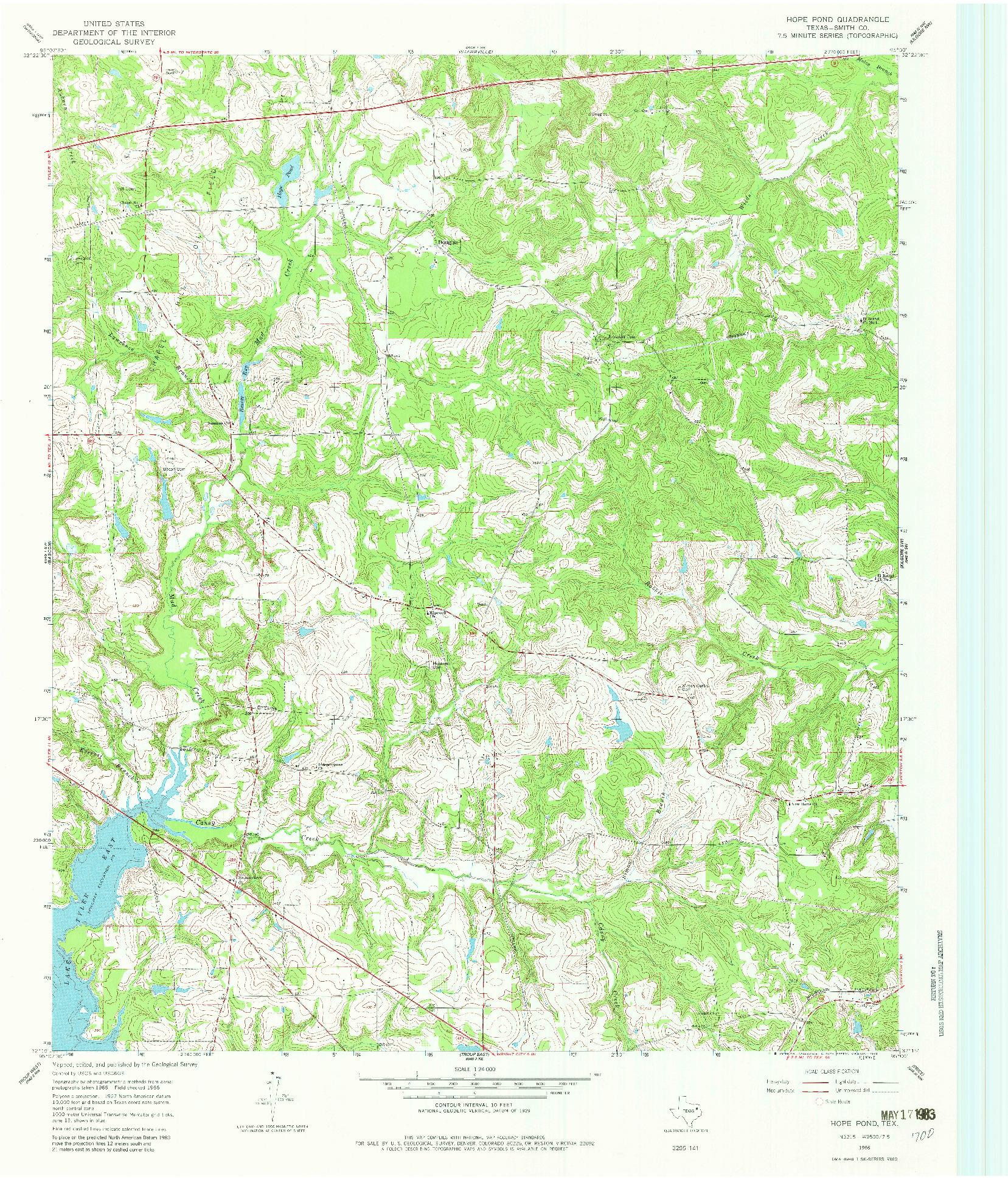 USGS 1:24000-SCALE QUADRANGLE FOR HOPE POND, TX 1966
