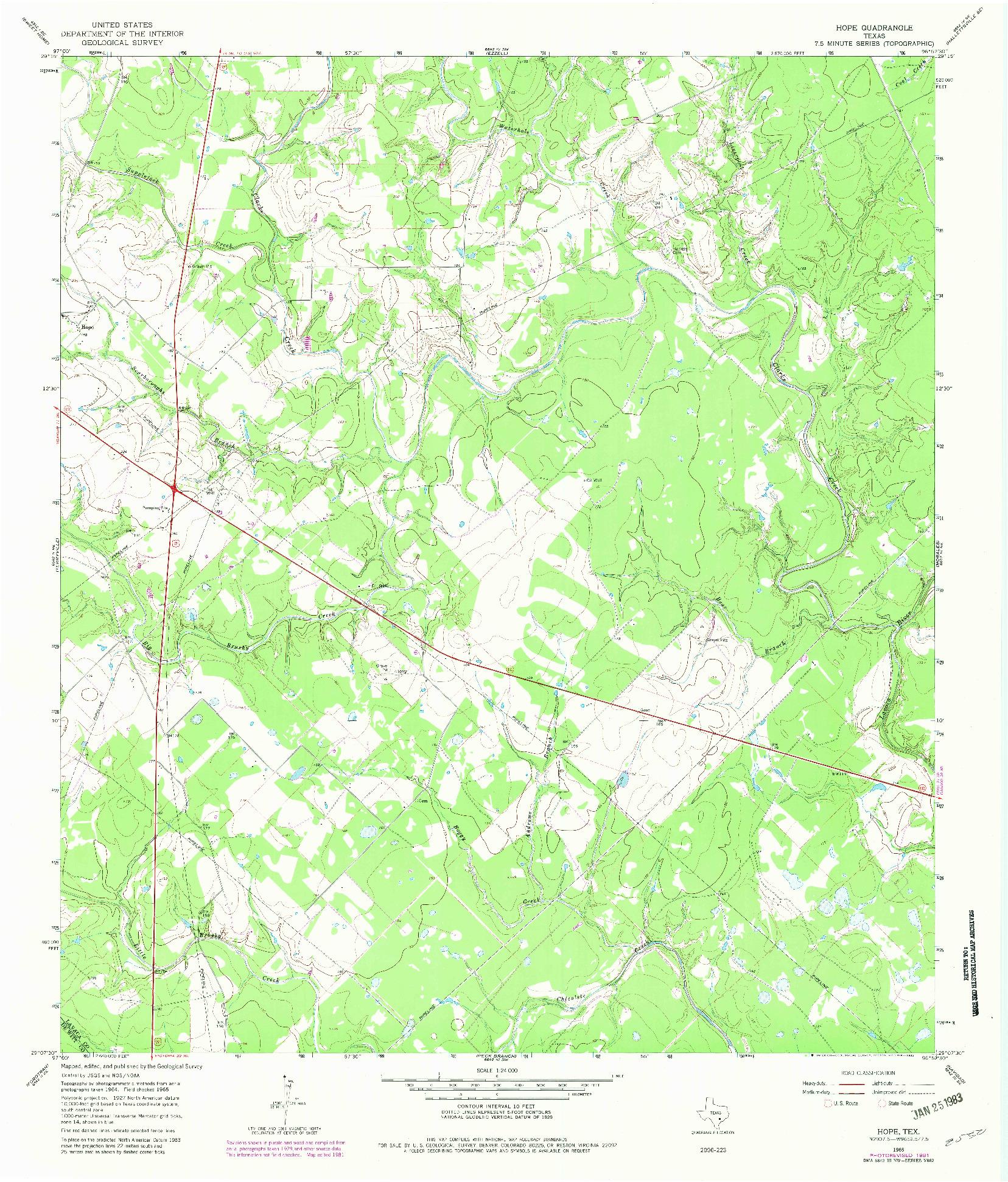USGS 1:24000-SCALE QUADRANGLE FOR HOPE, TX 1965