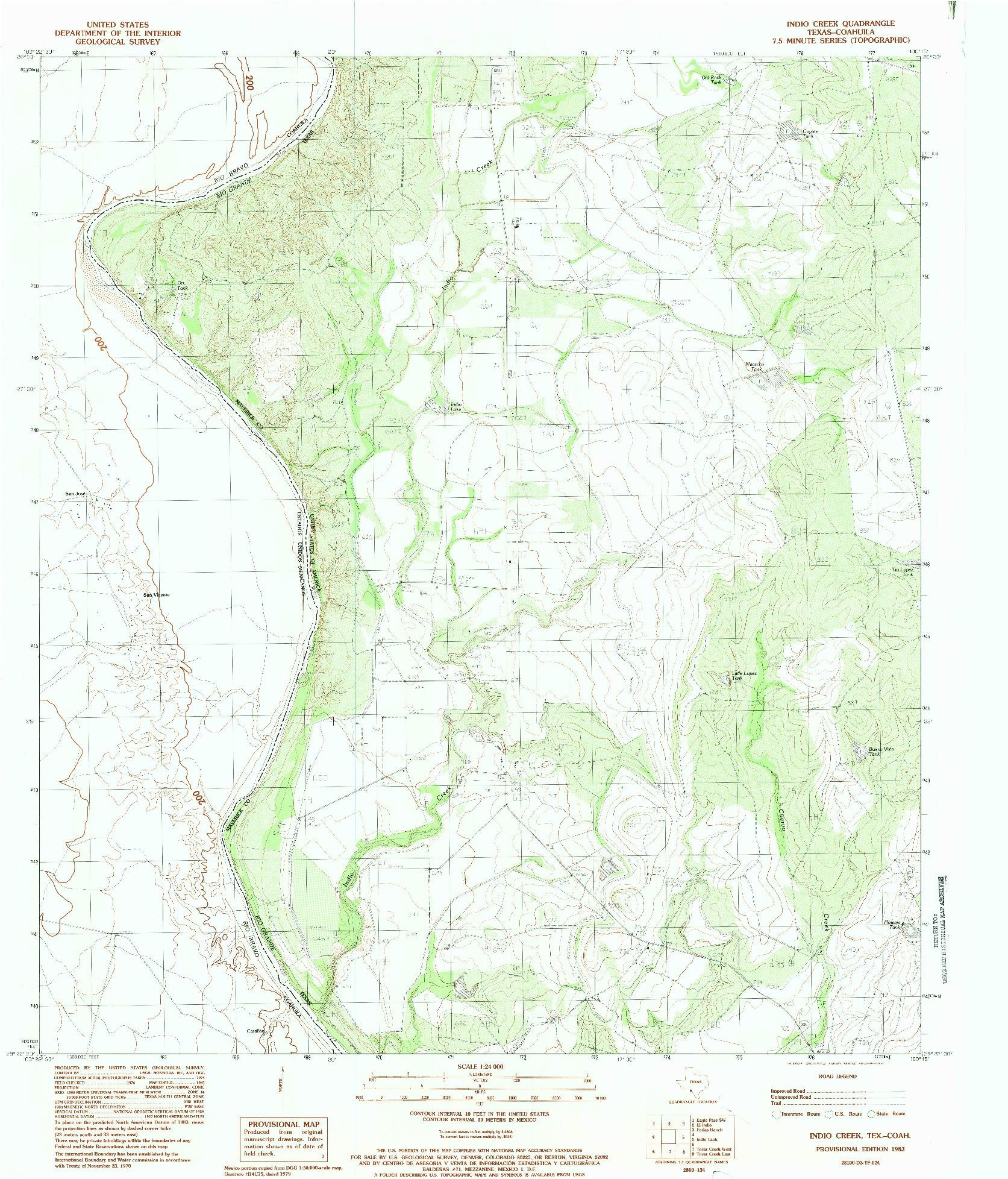 USGS 1:24000-SCALE QUADRANGLE FOR INDIO CREEK, TX 1983