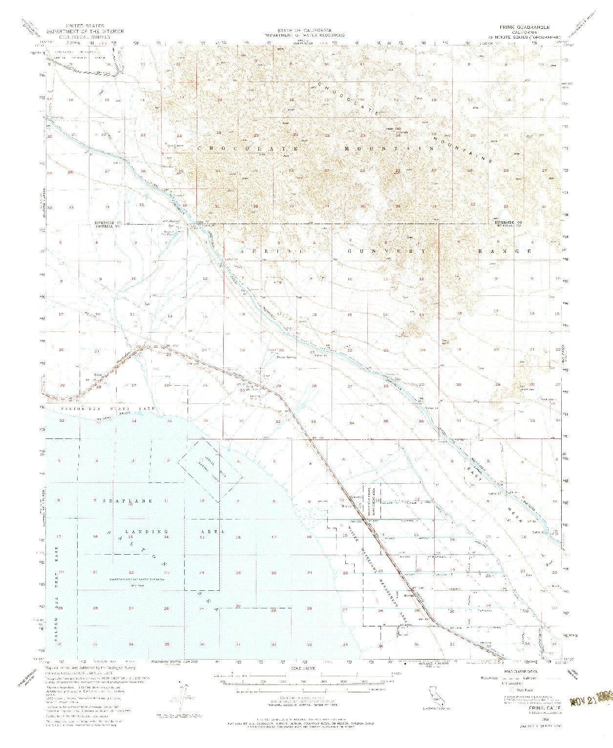 USGS 1:62500-SCALE QUADRANGLE FOR FRINK, CA 1956