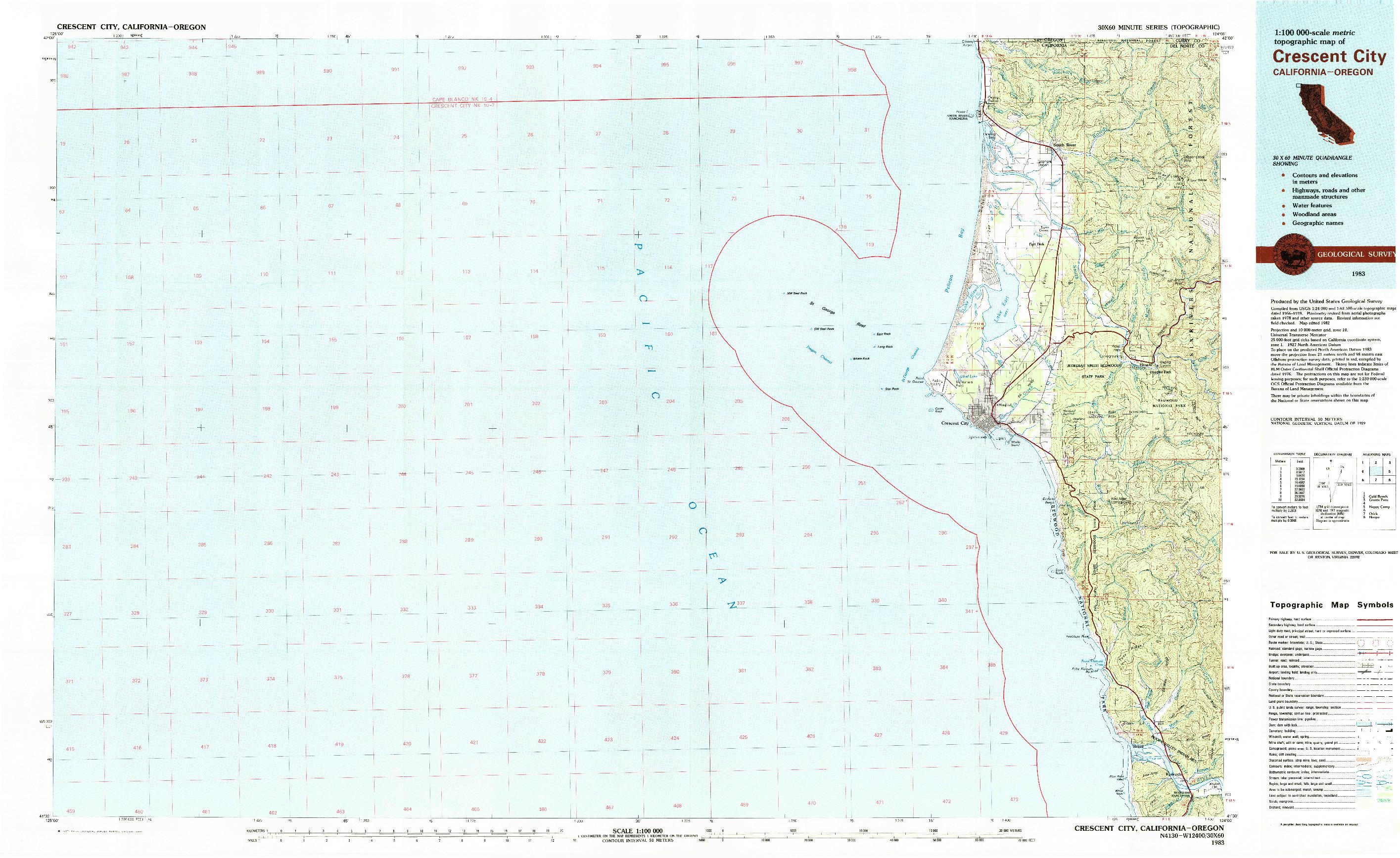USGS 1:100000-SCALE QUADRANGLE FOR CRESCENT CITY, CA 1983