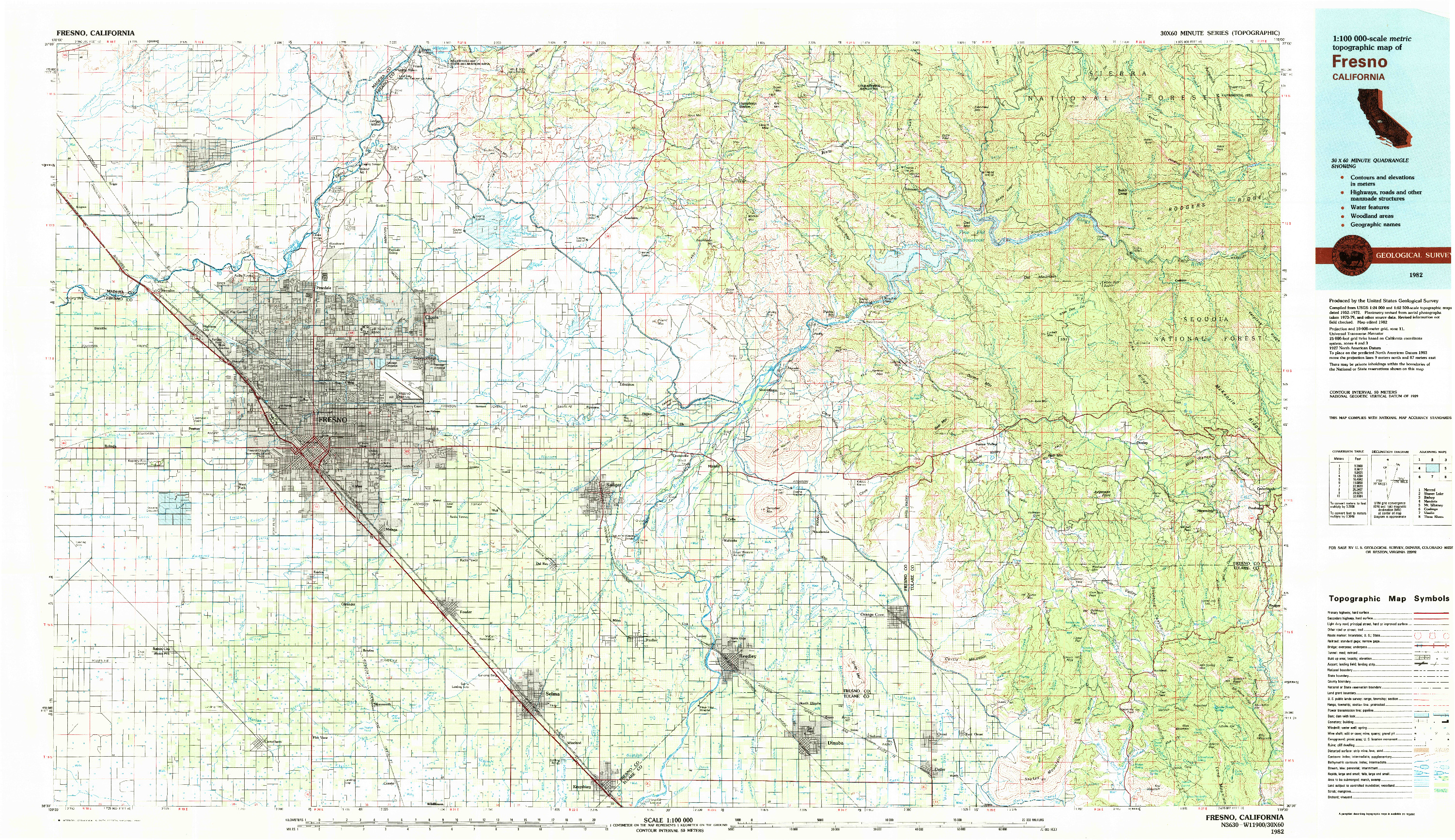 USGS 1:100000-SCALE QUADRANGLE FOR FRESNO, CA 1982