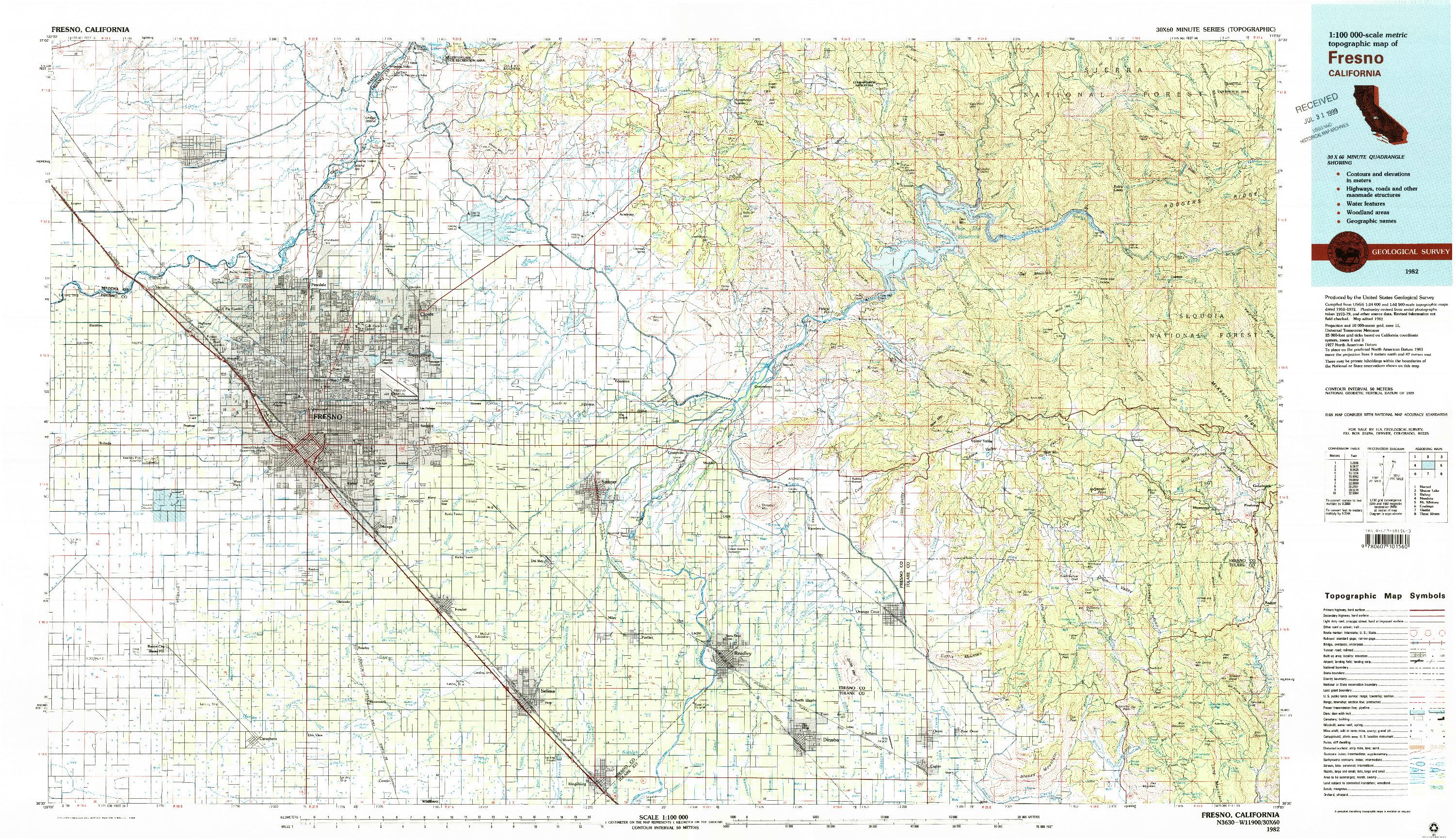 USGS 1:100000-SCALE QUADRANGLE FOR FRESNO, CA 1982