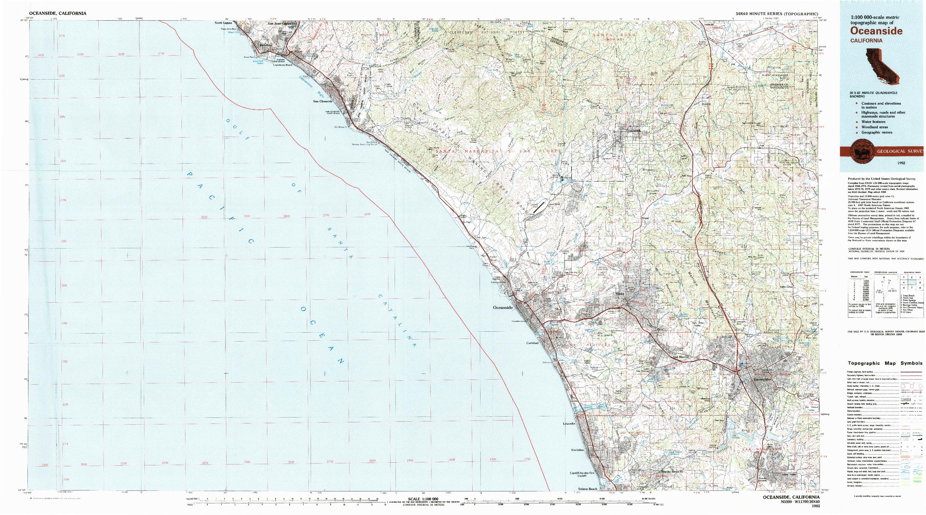 USGS 1:100000-SCALE QUADRANGLE FOR OCEANSIDE, CA 1982