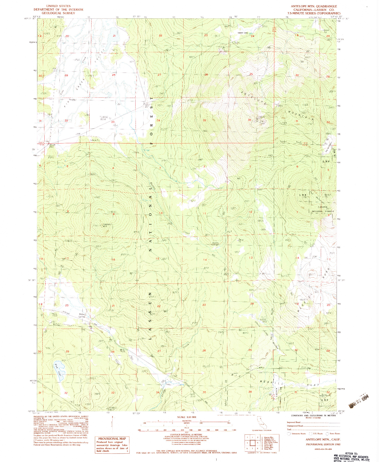 USGS 1:24000-SCALE QUADRANGLE FOR ANTELOPE MTN, CA 1983