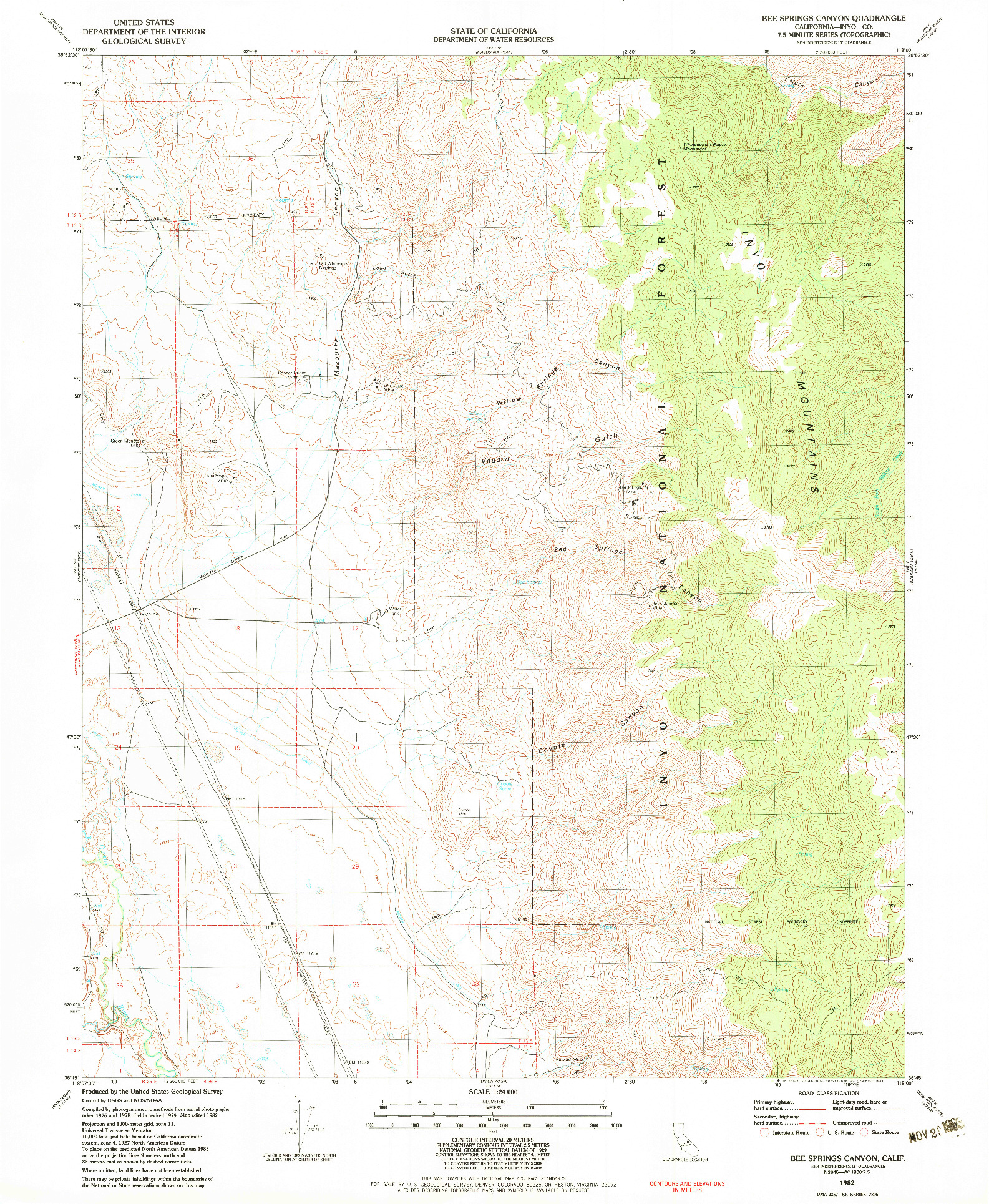 USGS 1:24000-SCALE QUADRANGLE FOR BEE SPRINGS CANYON, CA 1982