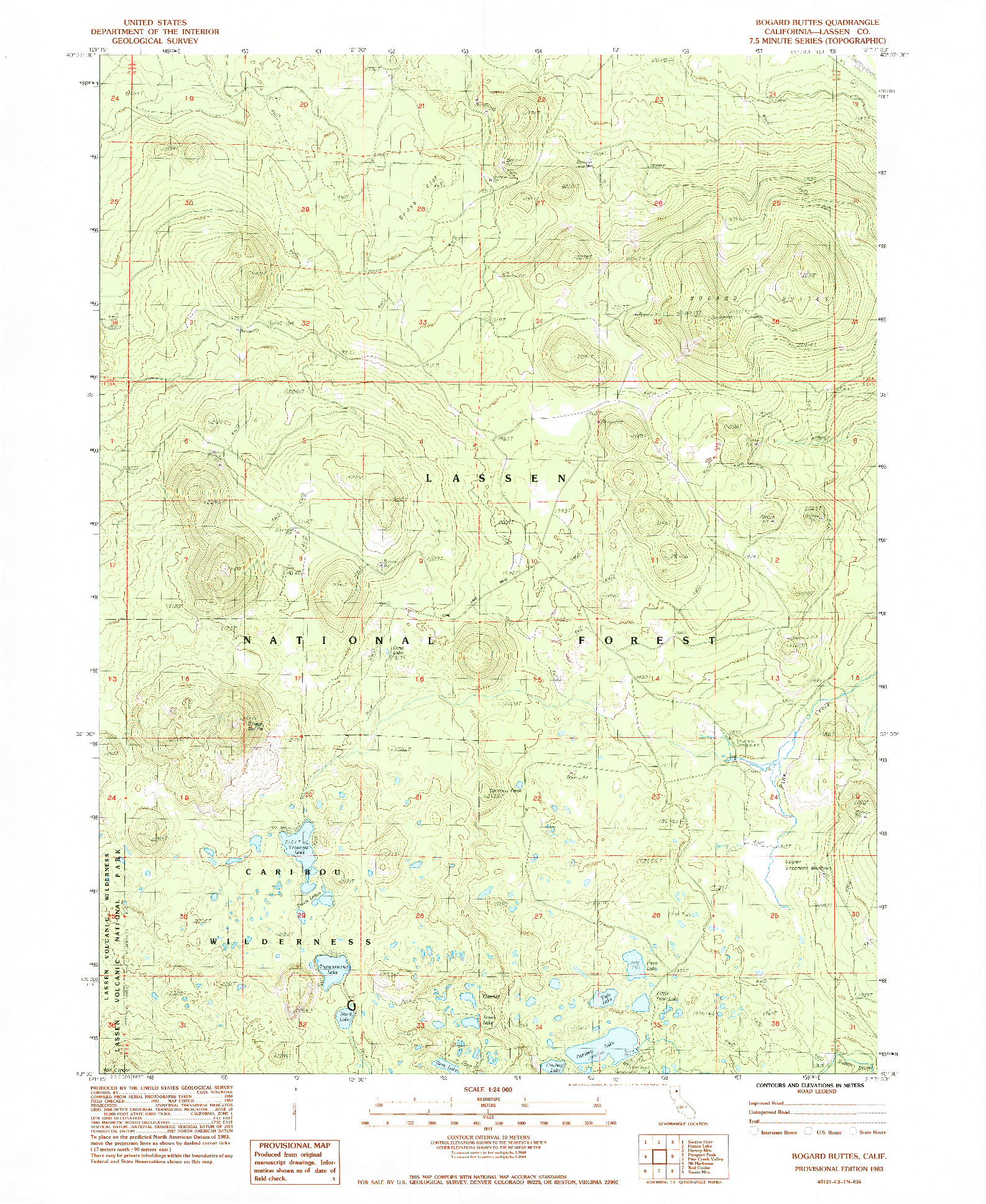 USGS 1:24000-SCALE QUADRANGLE FOR BOGARD BUTTES, CA 1983