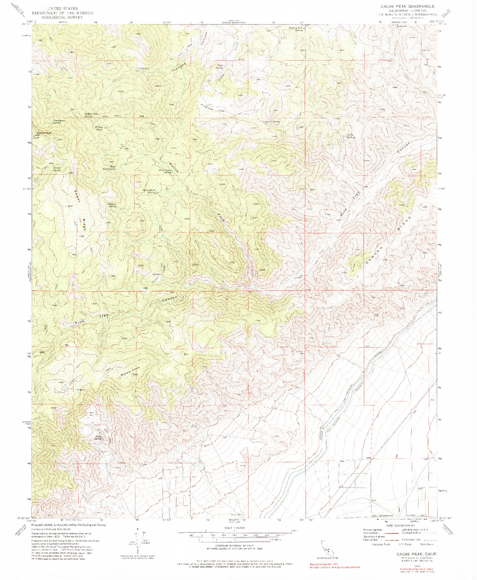 USGS 1:24000-SCALE QUADRANGLE FOR CACHE PEAK, CA 1973