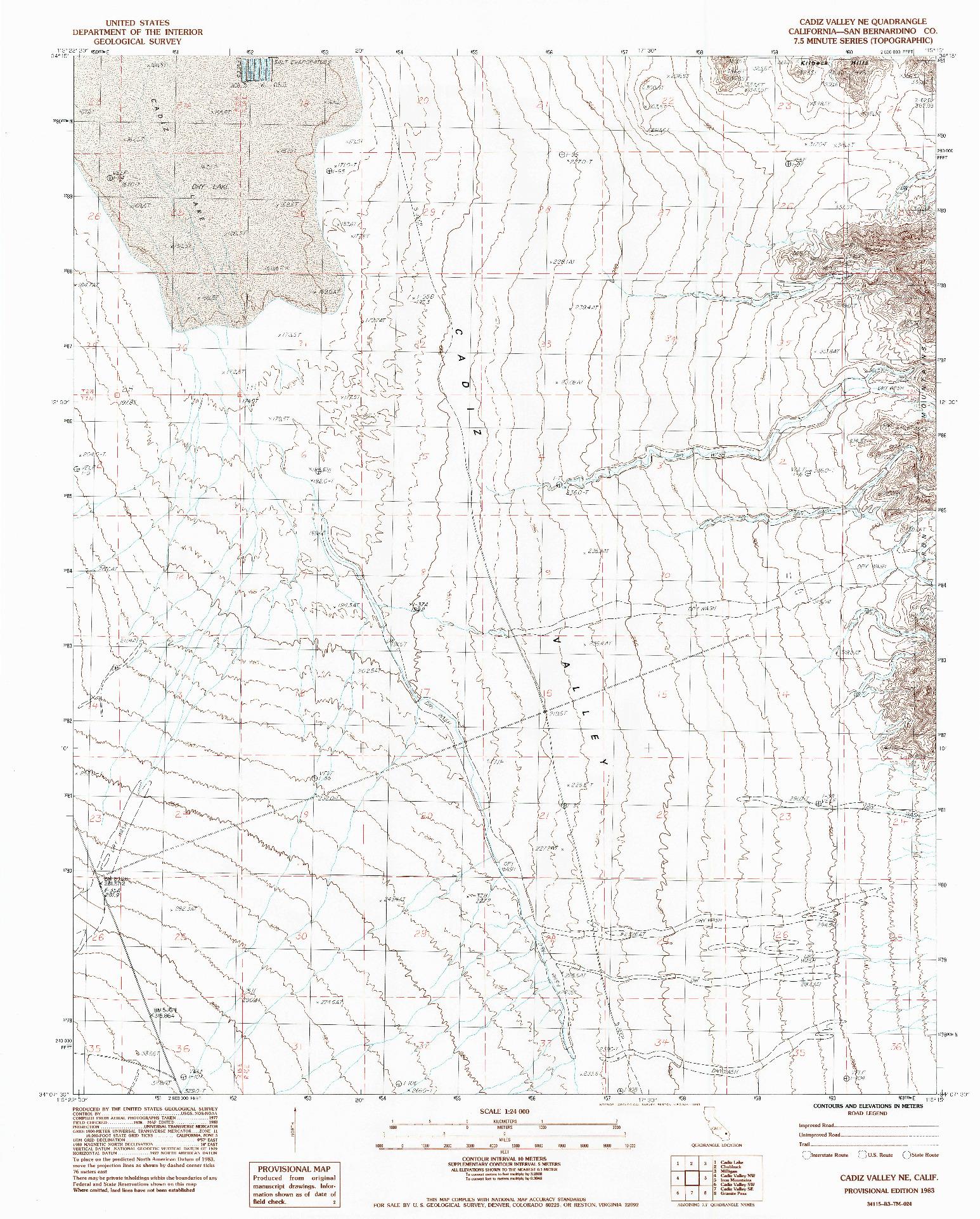 USGS 1:24000-SCALE QUADRANGLE FOR CADIZ VALLEY NE, CA 1983