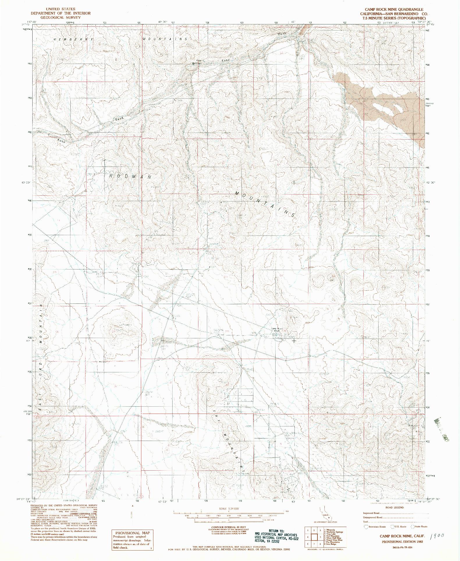 USGS 1:24000-SCALE QUADRANGLE FOR CAMP ROCK MINE, CA 1982