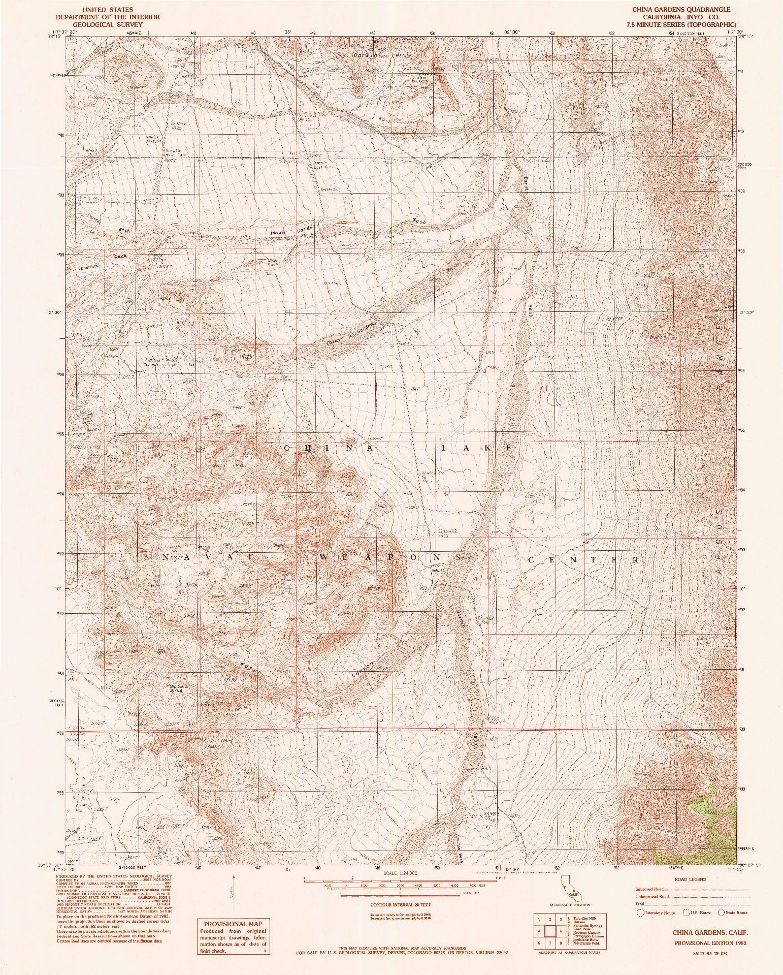 USGS 1:24000-SCALE QUADRANGLE FOR CHINA GARDENS, CA 1982