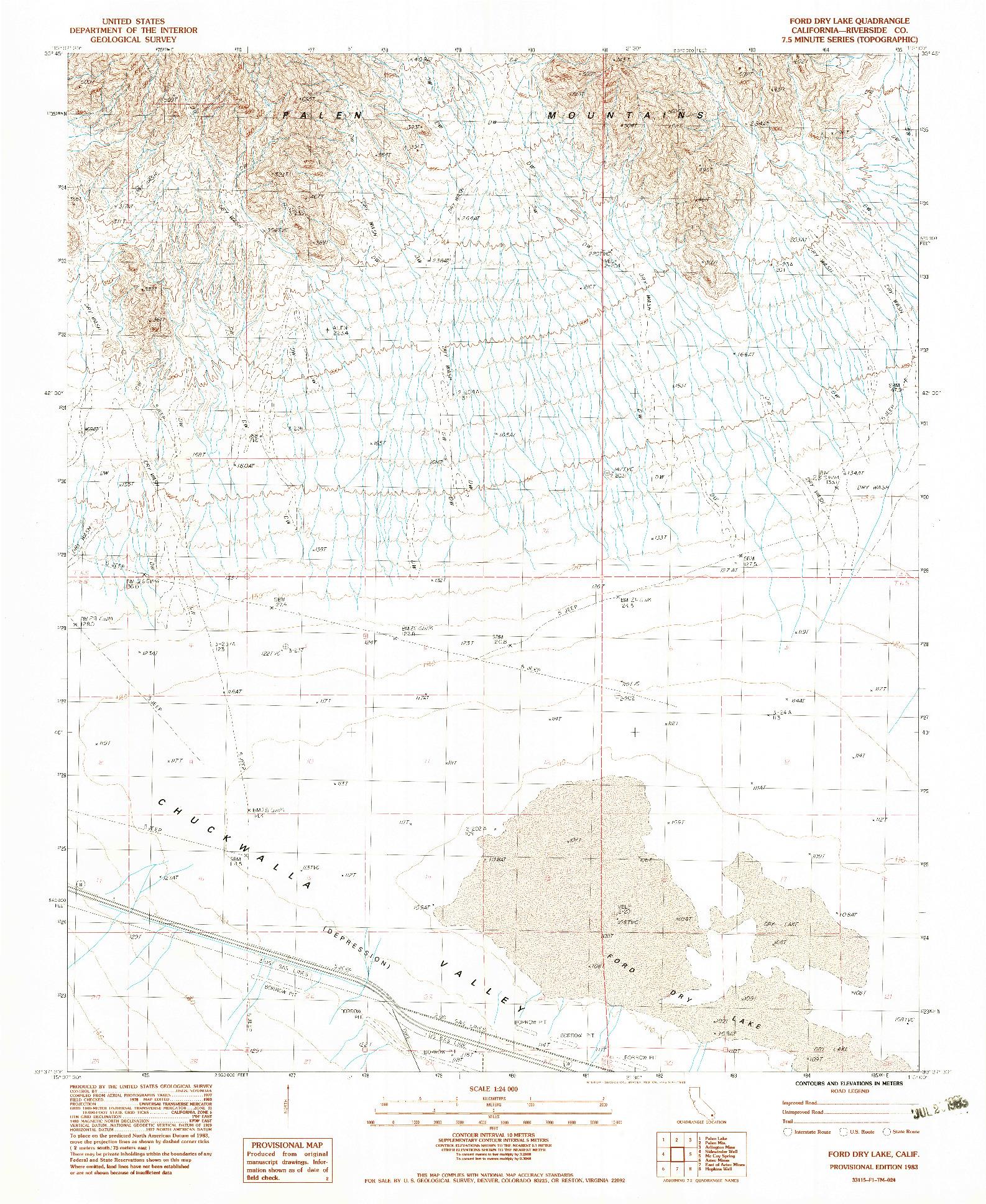 USGS 1:24000-SCALE QUADRANGLE FOR FORD DRY LAKE, CA 1983