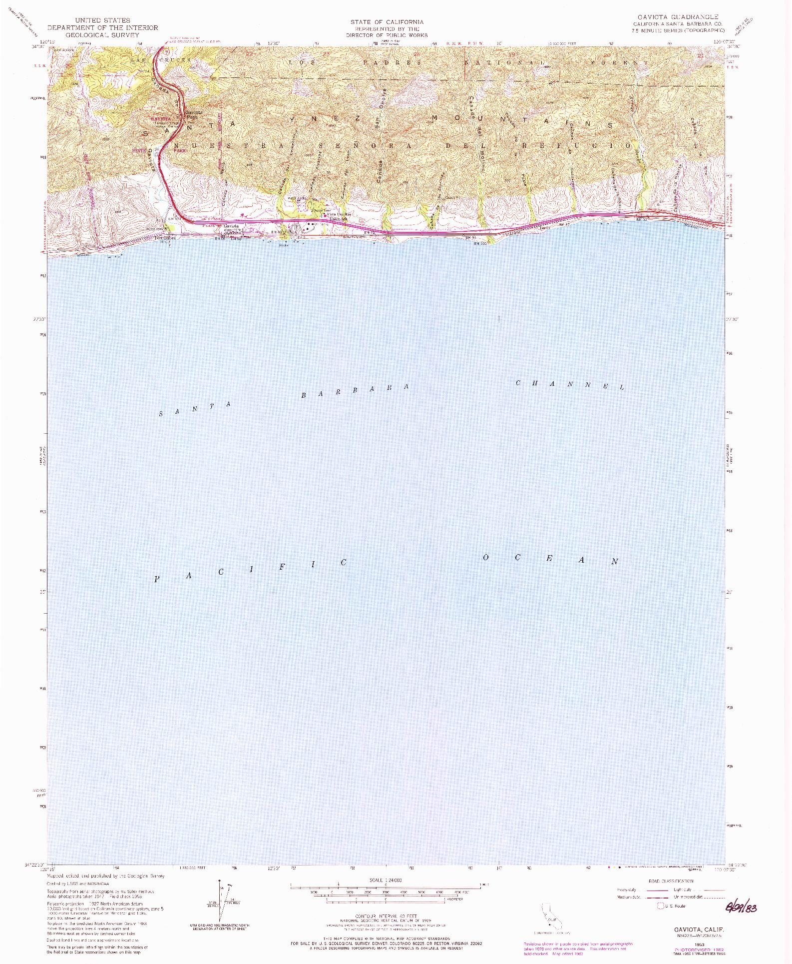USGS 1:24000-SCALE QUADRANGLE FOR GAVIOTA, CA 1953