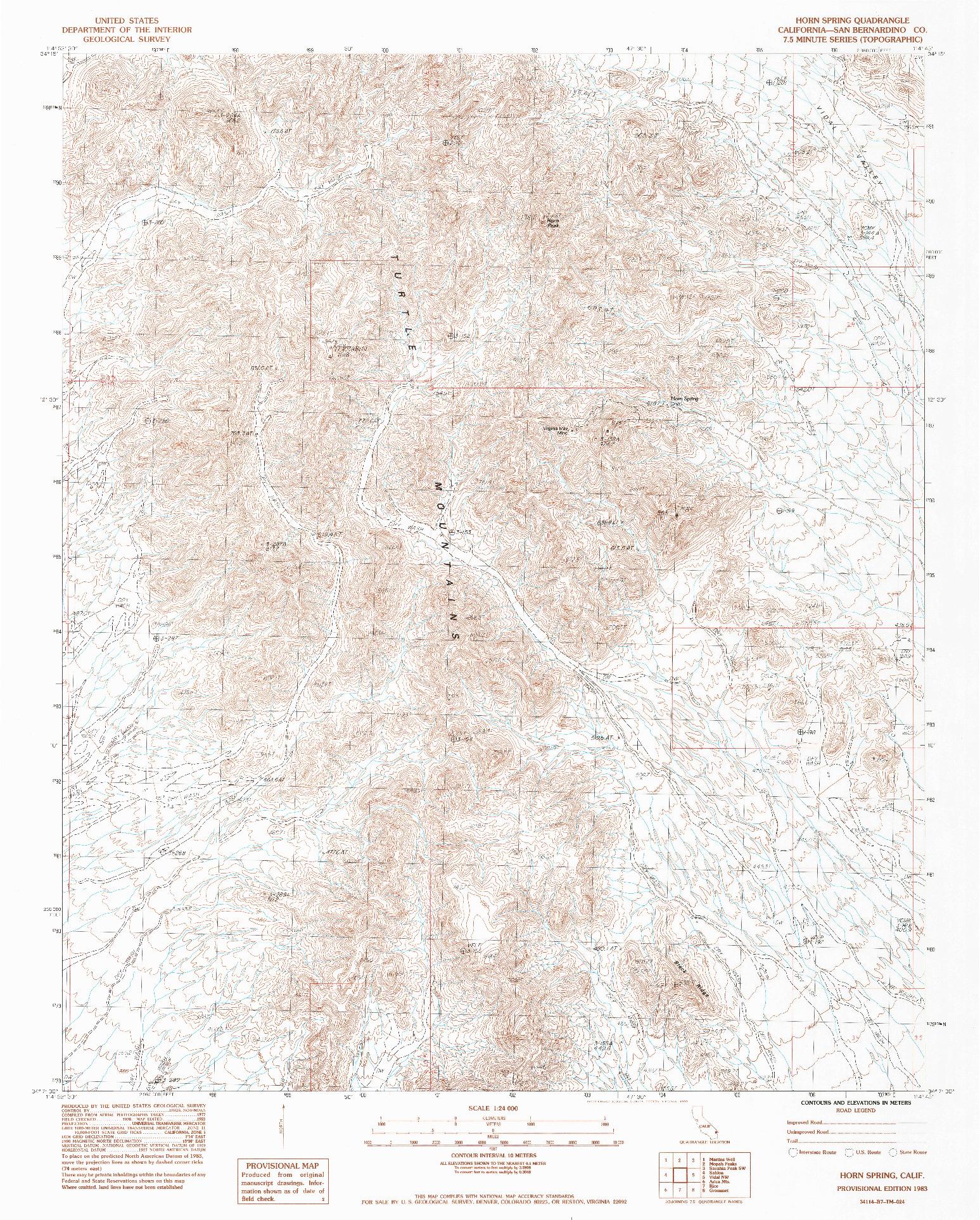 USGS 1:24000-SCALE QUADRANGLE FOR HORN SPRING, CA 1983