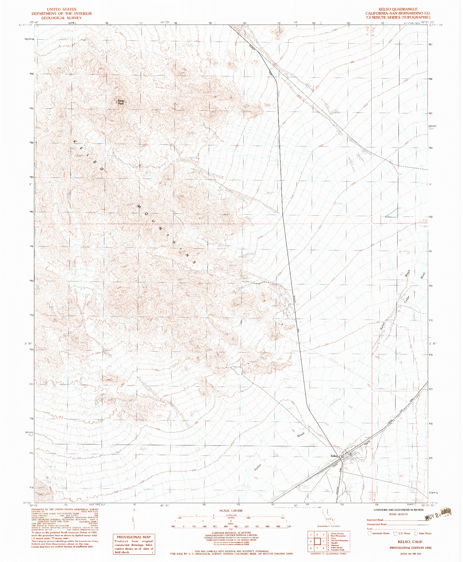 USGS 1:24000-SCALE QUADRANGLE FOR KELSO, CA 1983