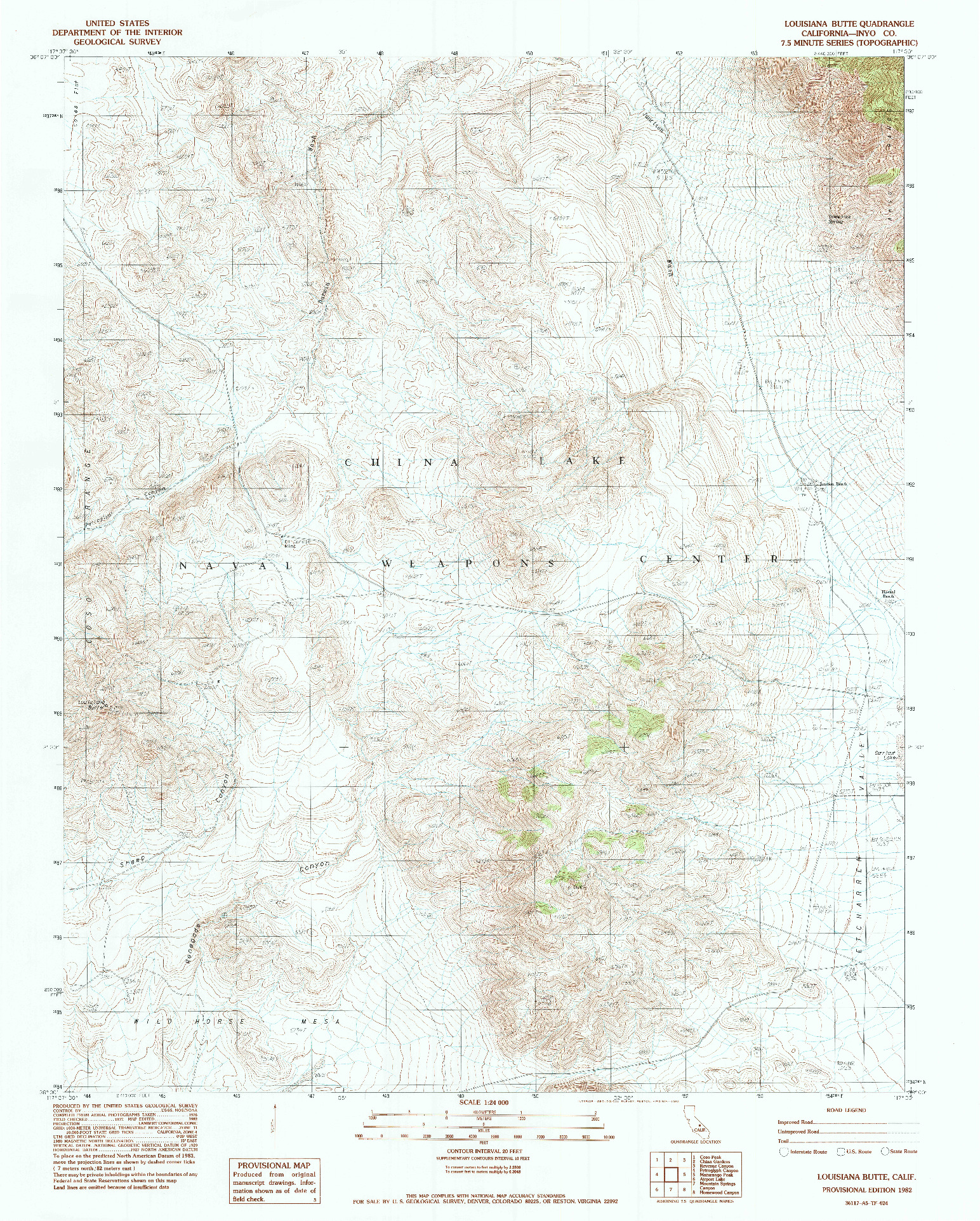 USGS 1:24000-SCALE QUADRANGLE FOR LOUISIANA BUTTE, CA 1982