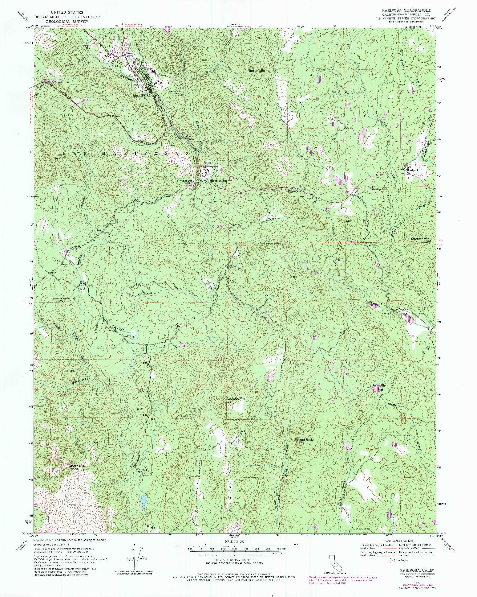 USGS 1:24000-SCALE QUADRANGLE FOR MARIPOSA, CA 1947