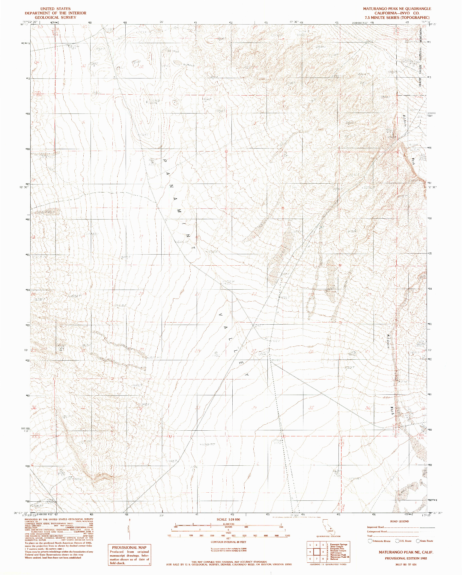 USGS 1:24000-SCALE QUADRANGLE FOR MATURANGO PEAK NE, CA 1982
