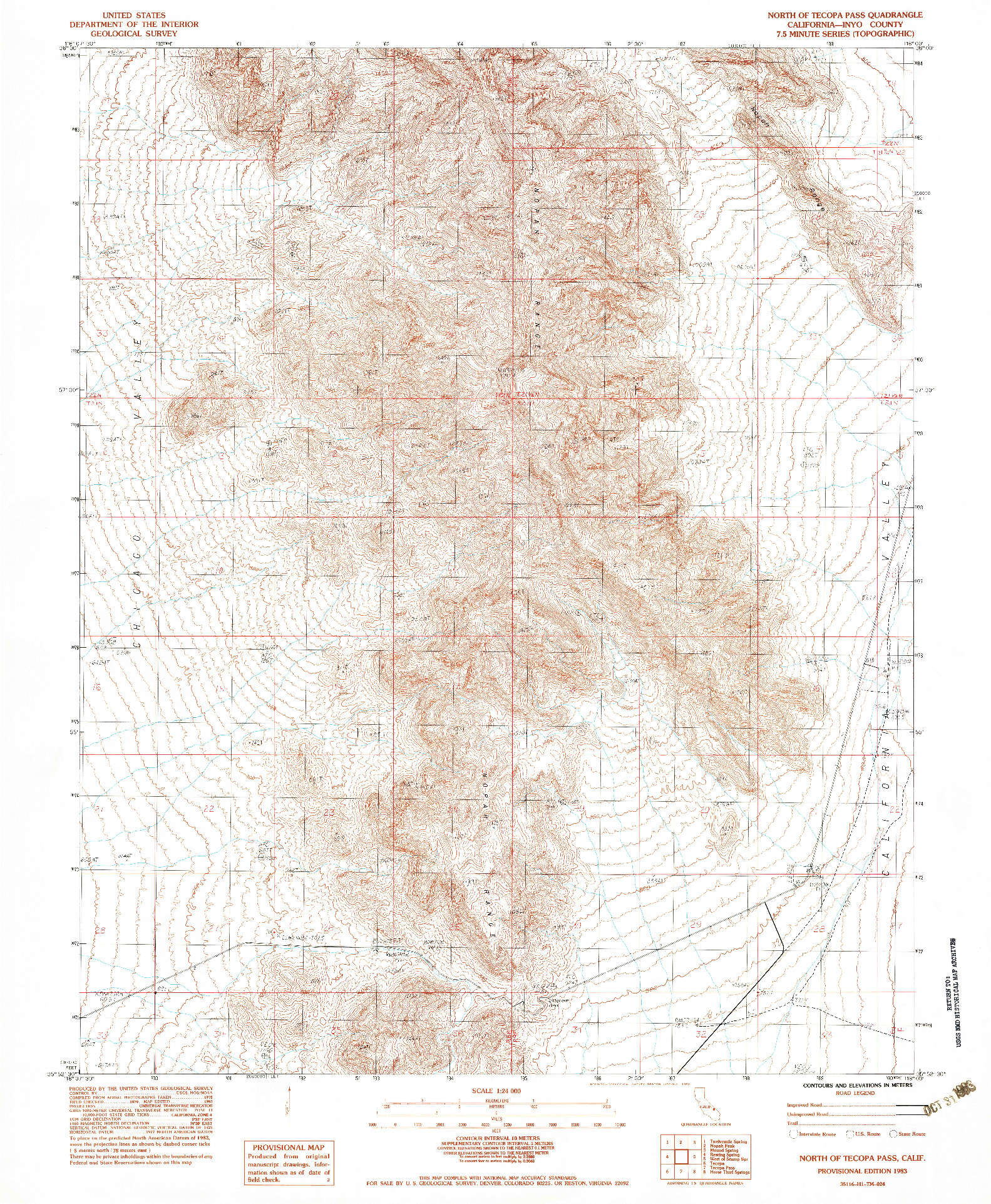 USGS 1:24000-SCALE QUADRANGLE FOR NORTH OF TECOPA PASS, CA 1983