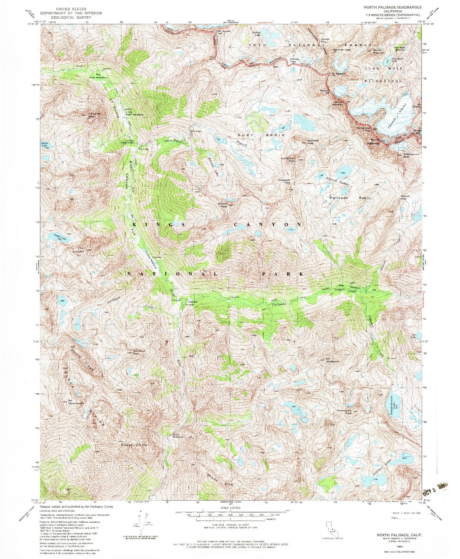USGS 1:24000-SCALE QUADRANGLE FOR NORTH PALISADE, CA 1982