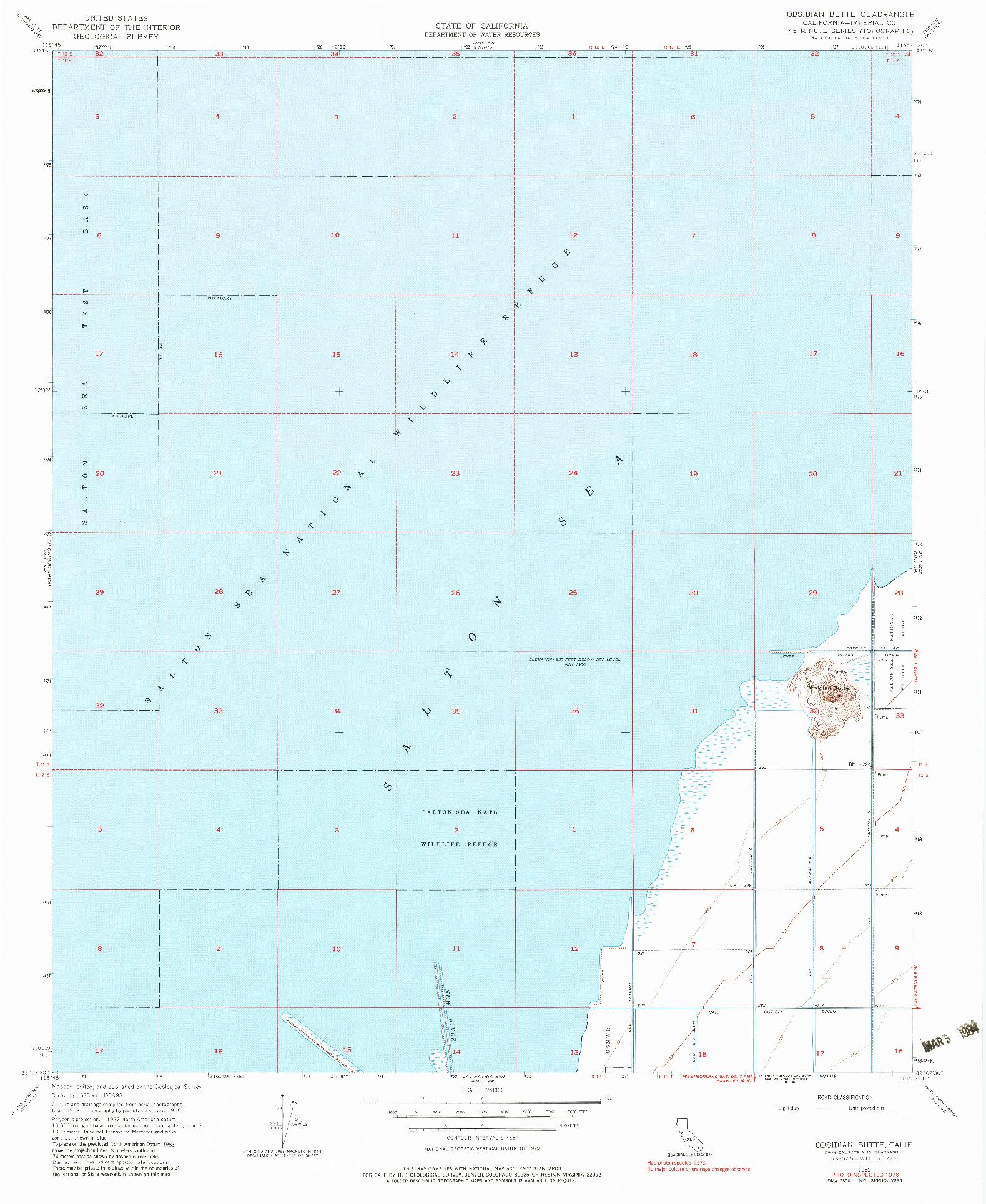 USGS 1:24000-SCALE QUADRANGLE FOR OBSIDIAN BUTTE, CA 1956